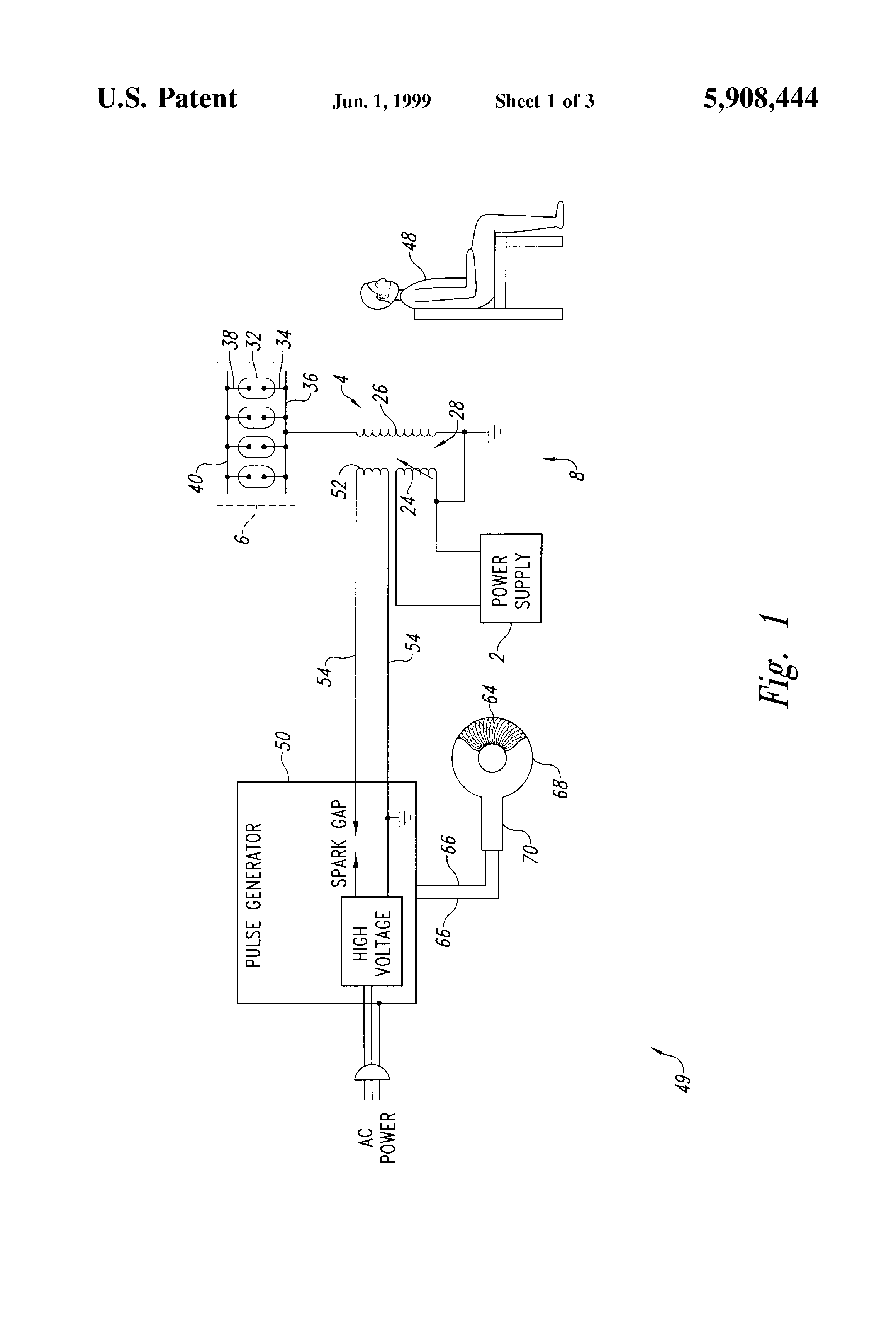patent us5908444 - complex frequency pulsed electromagnetic generator and method of use
