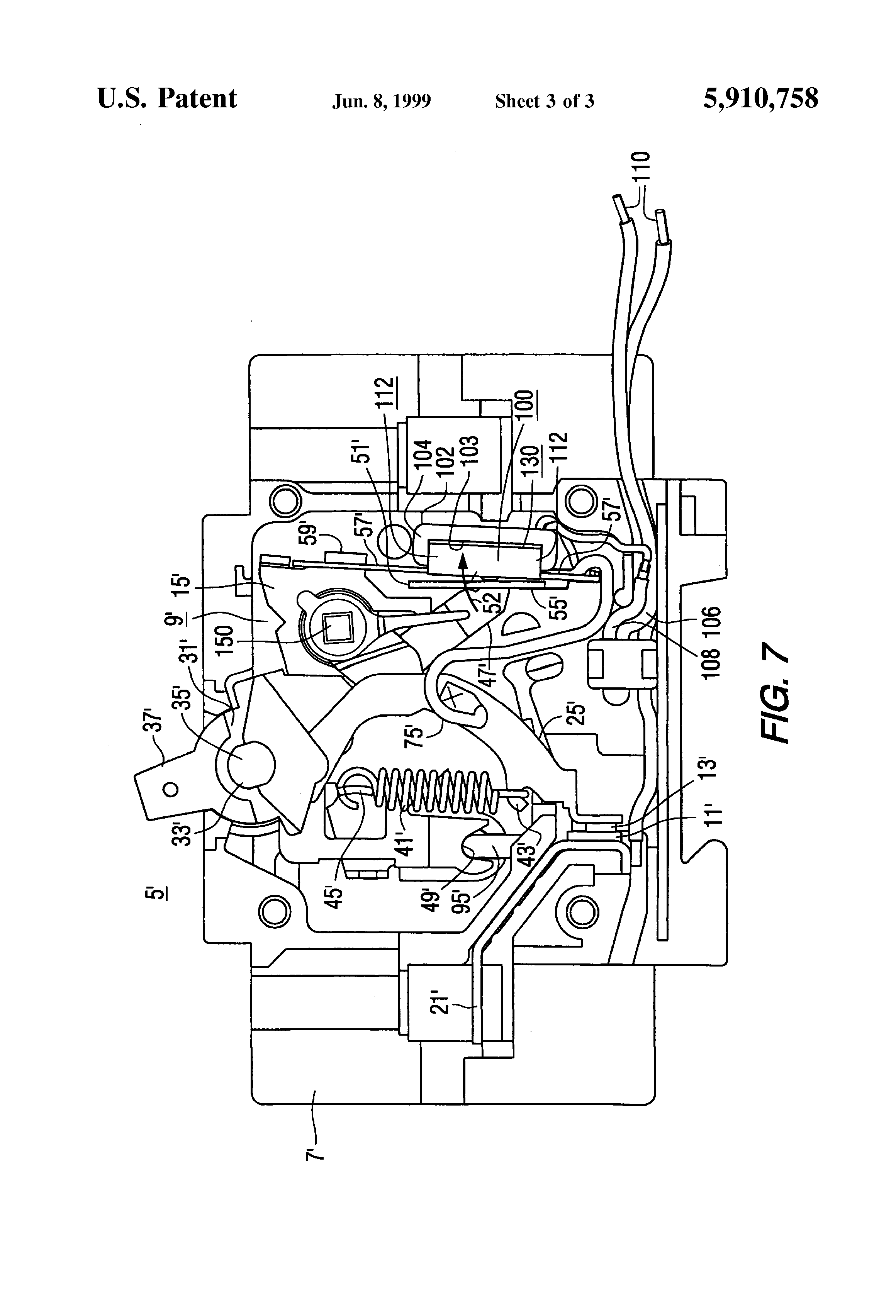 patent us5910758 - miniature circuit breaker with shunt trip device