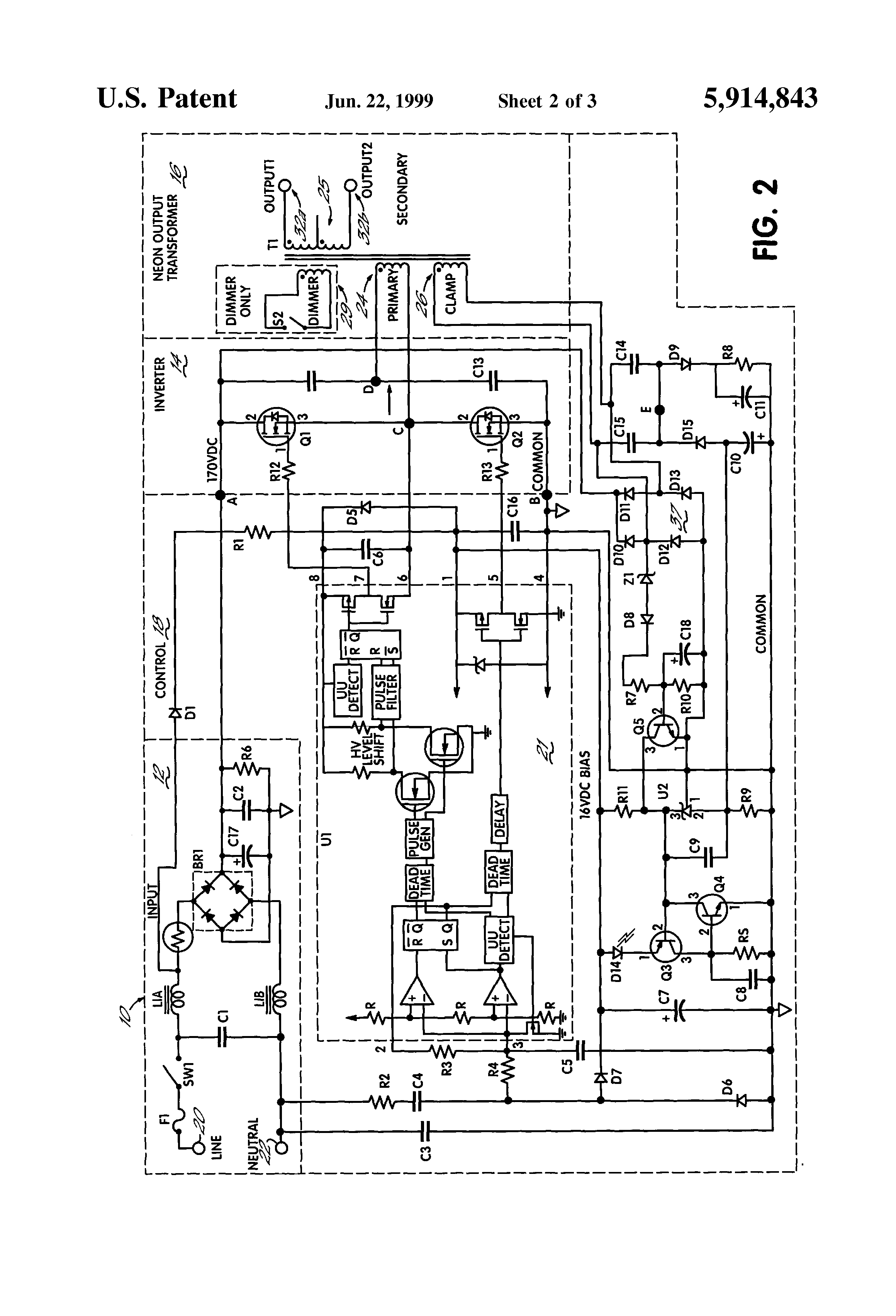 patent us5914843 neon power supply improved ground fault patent drawing