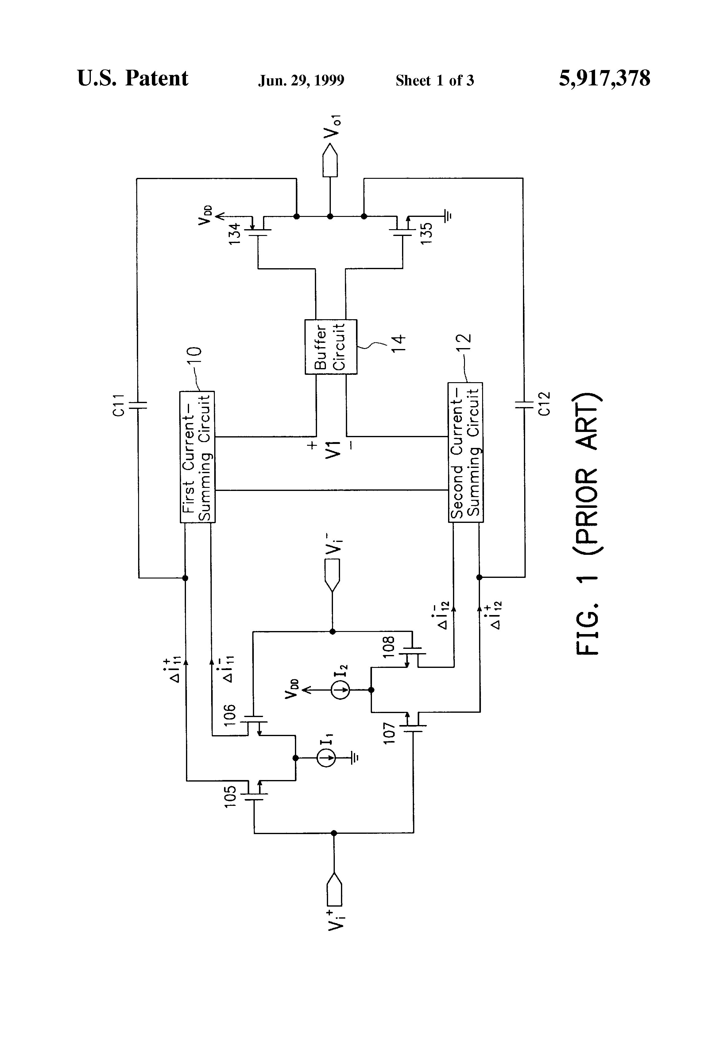 Brevet Us5917378 Rail To Type Of Operational Amplifier With A Buffer Circuit Schematic Diagram Patent Drawing