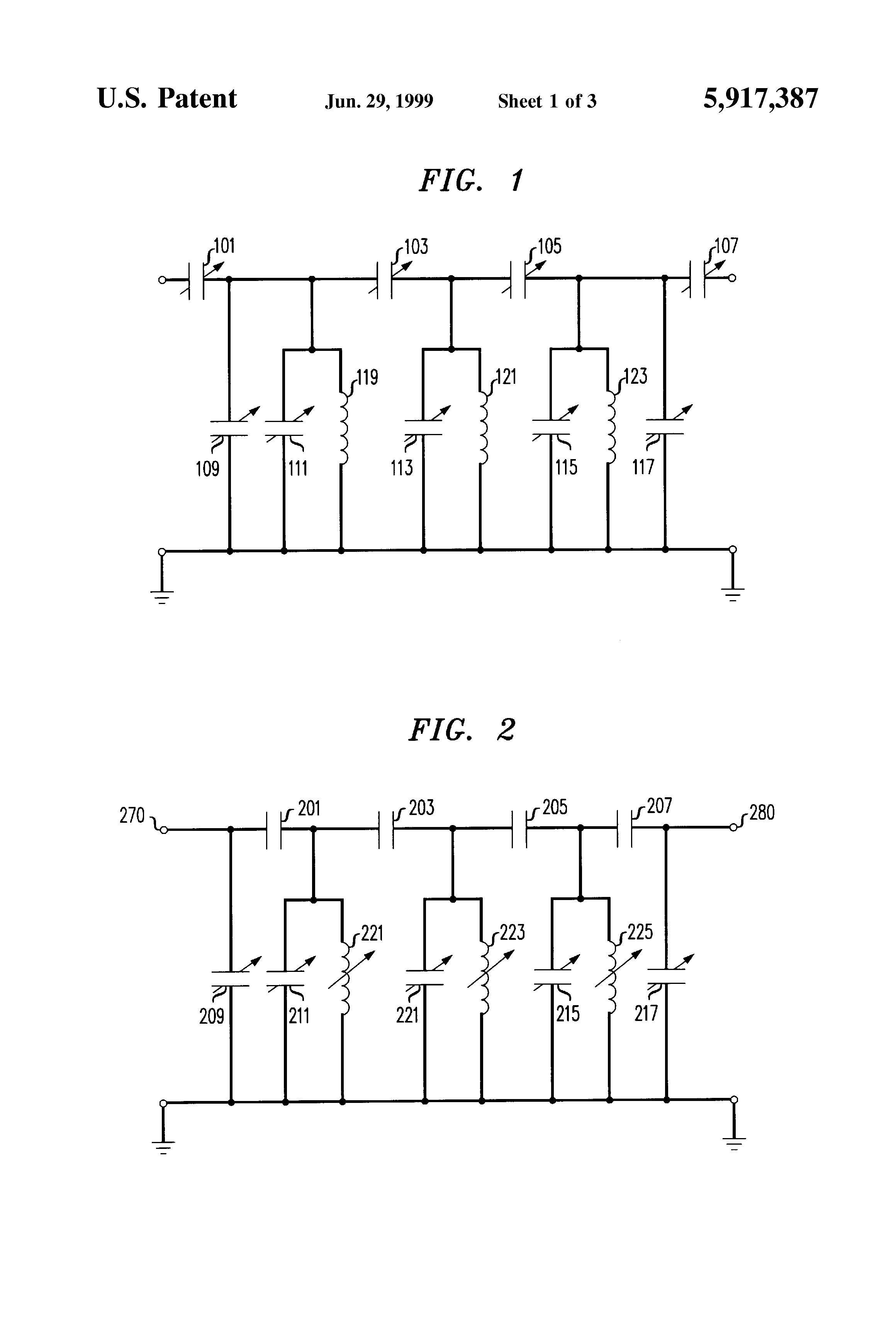 Patent Us5917387 Filter Having Tunable Center Frequency And Or Bessel Response On Electronic Schematic Drawing