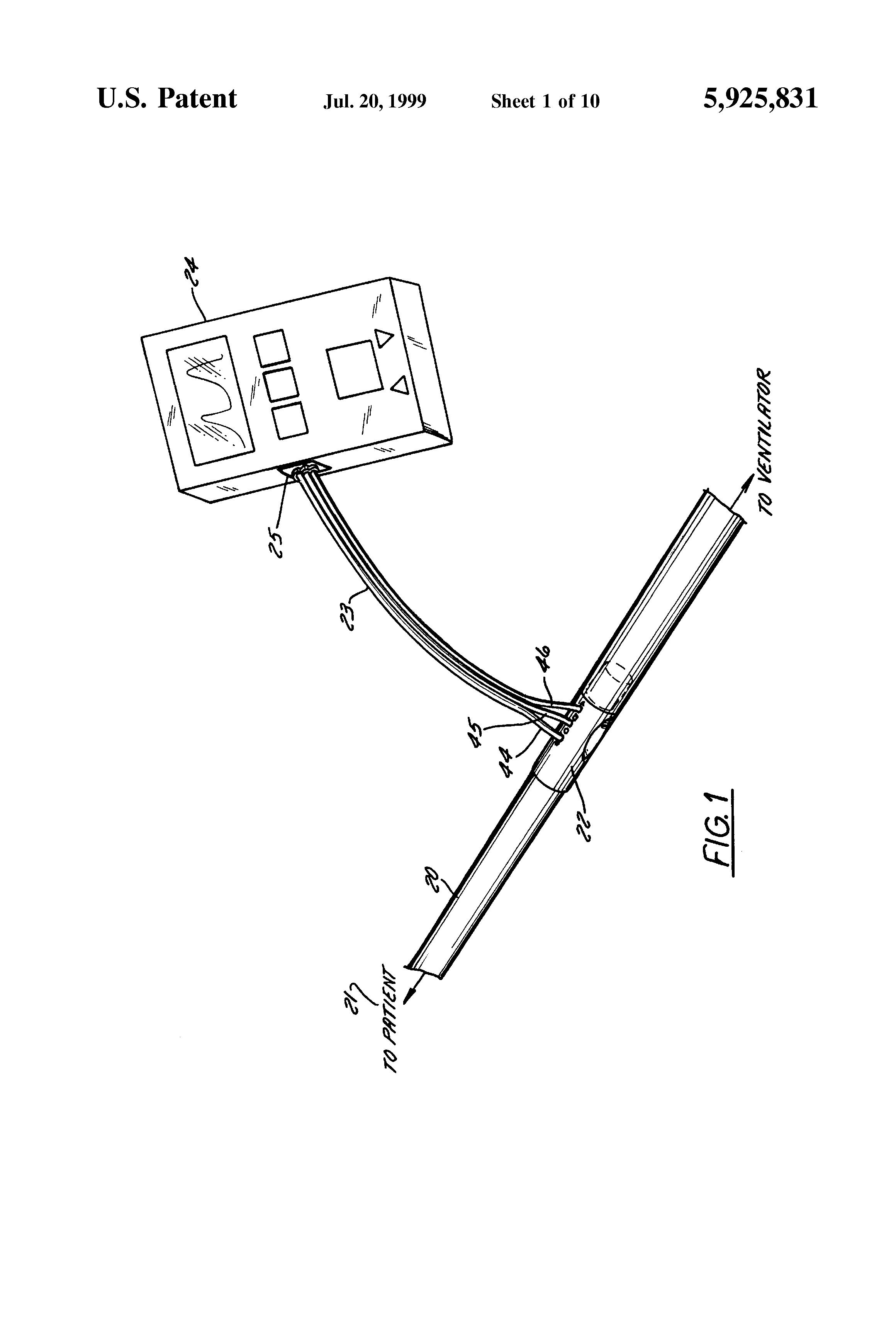 patent us5925831 - respiratory air flow sensor