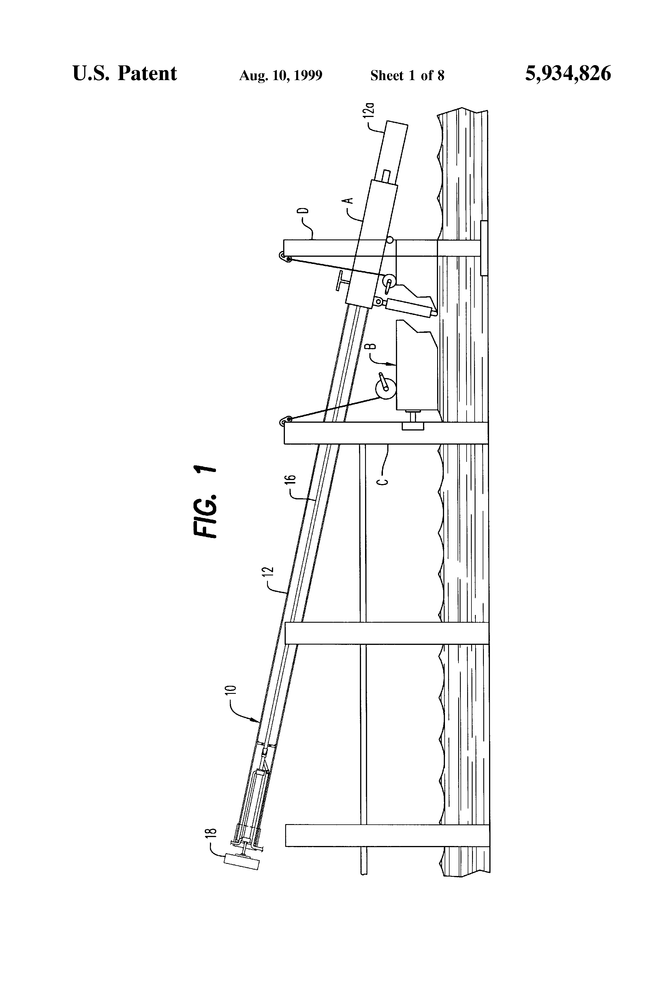 Patent us5934826 boat lift apparatus google patents for Boat lift motors near me