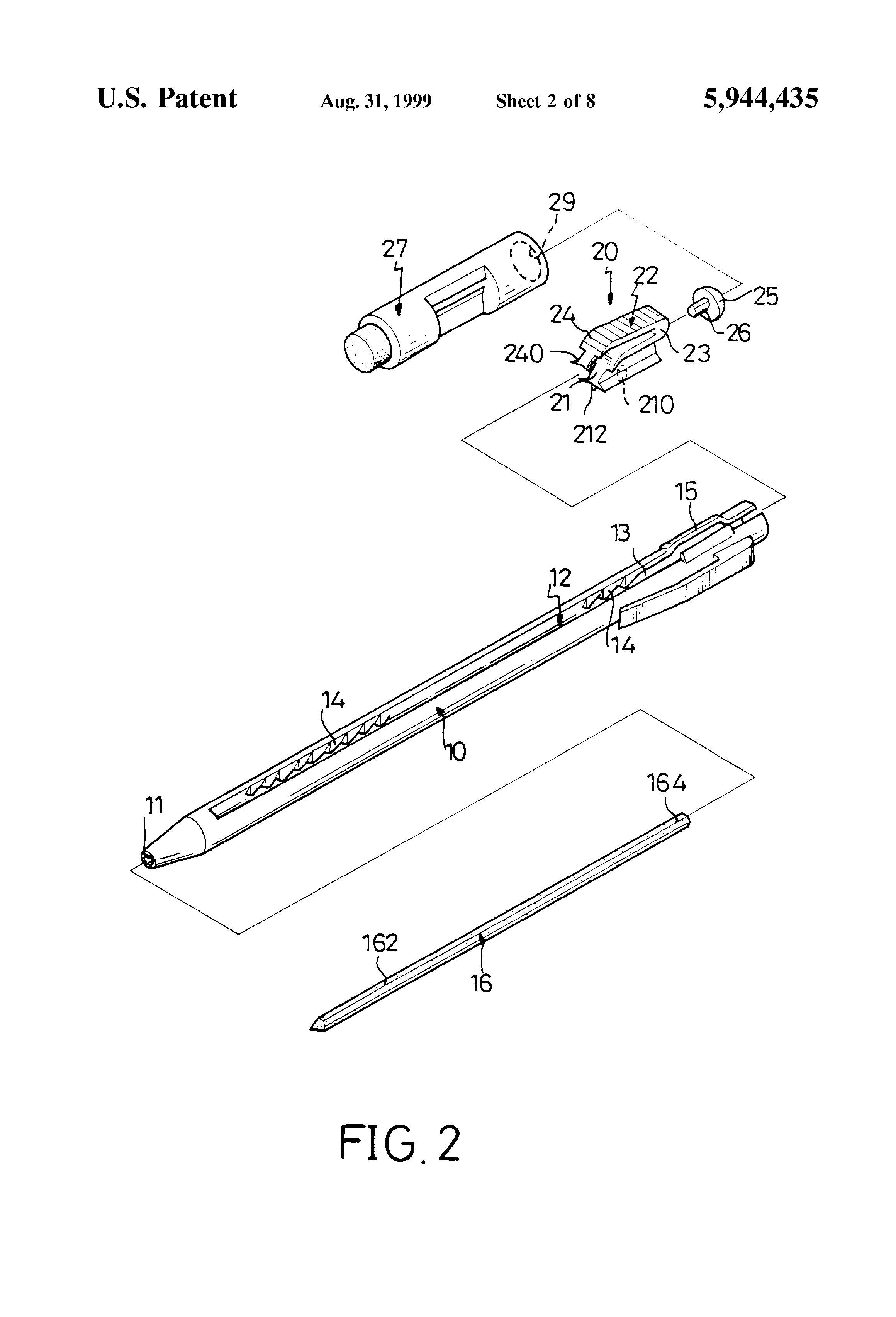 patent us5944435 - mechanical pencil structure