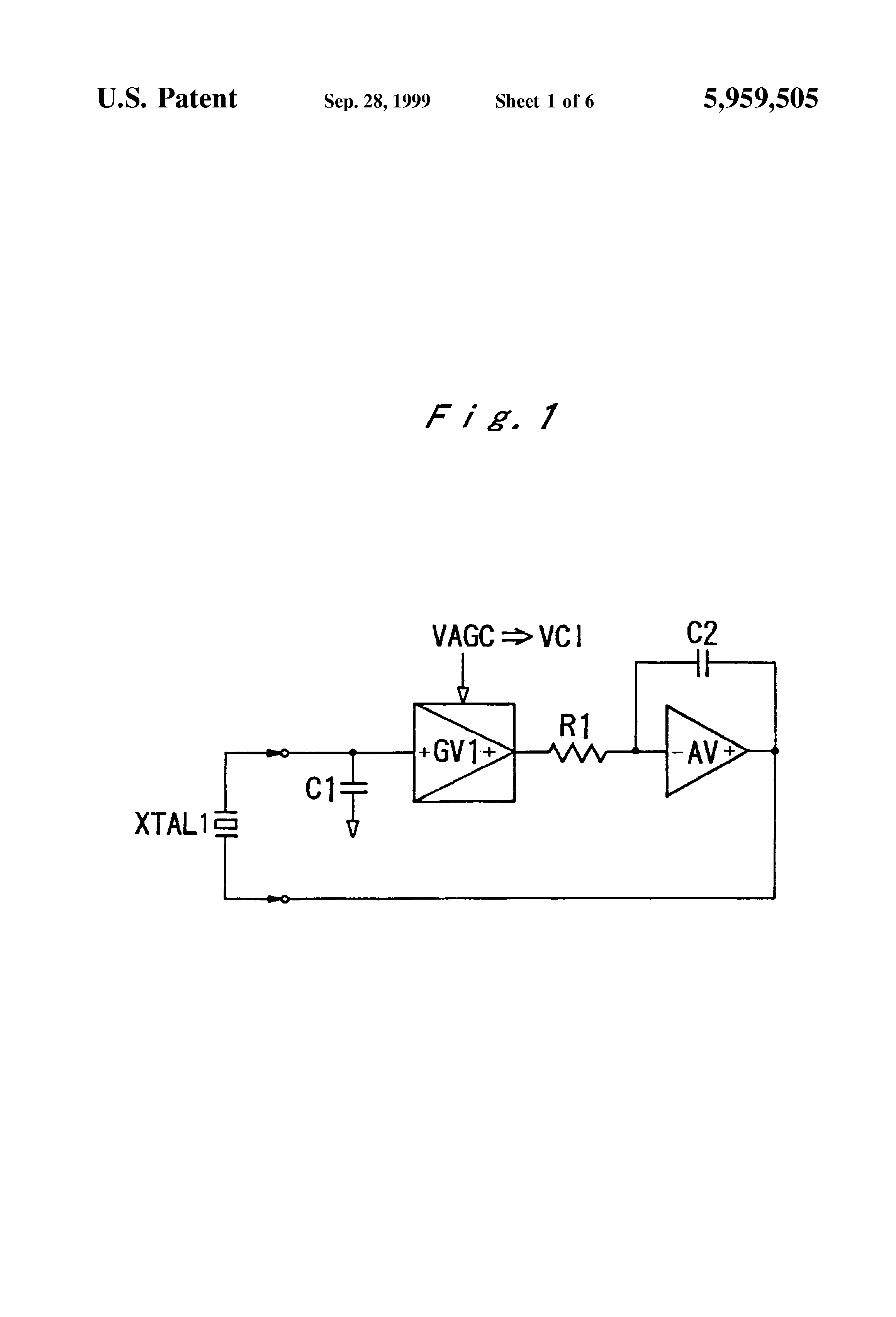 Patent Us5959505 Crystal Oscillator For Measuring Element Circuit Colpitts Drawing