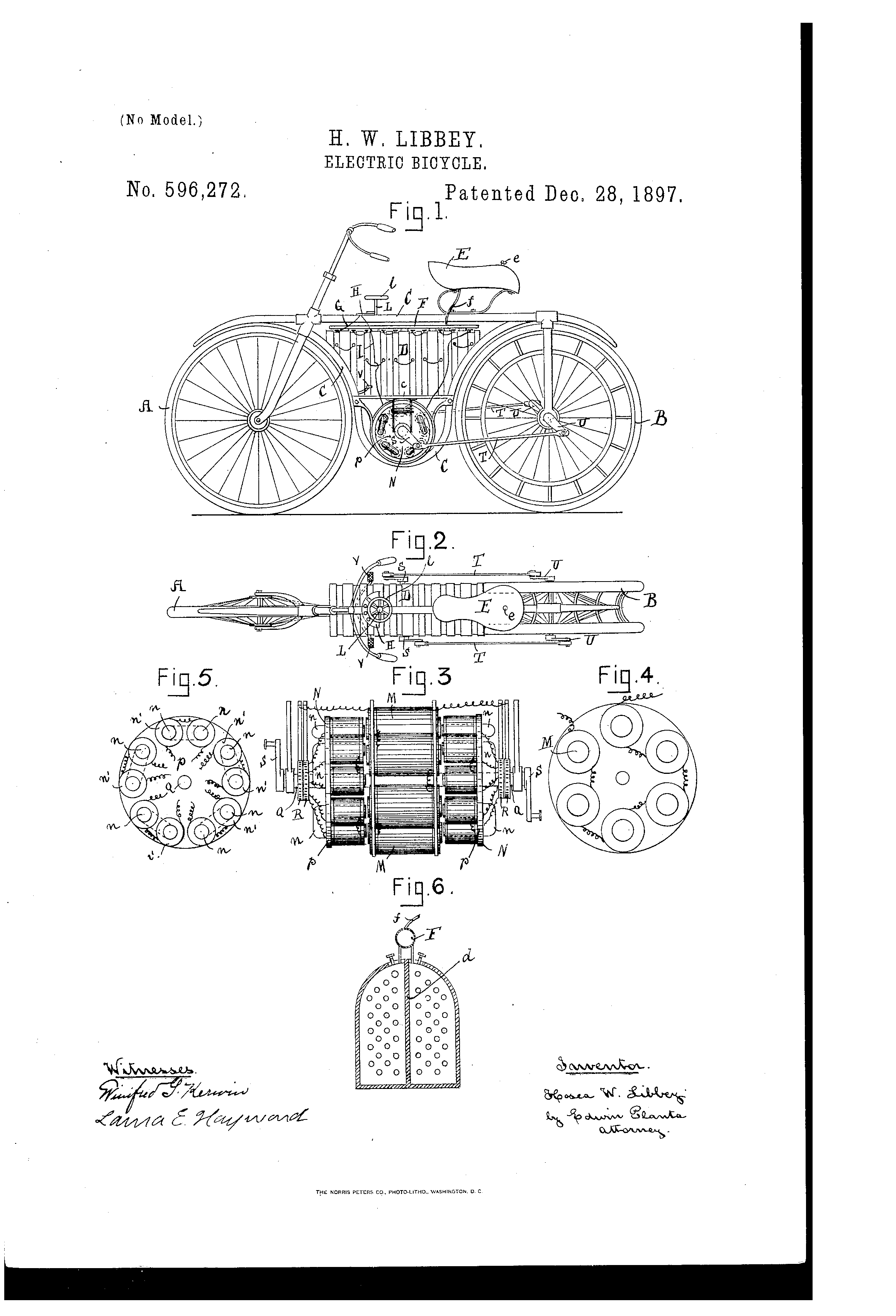 Patent Us596272 Electric Bicycle Google Patents