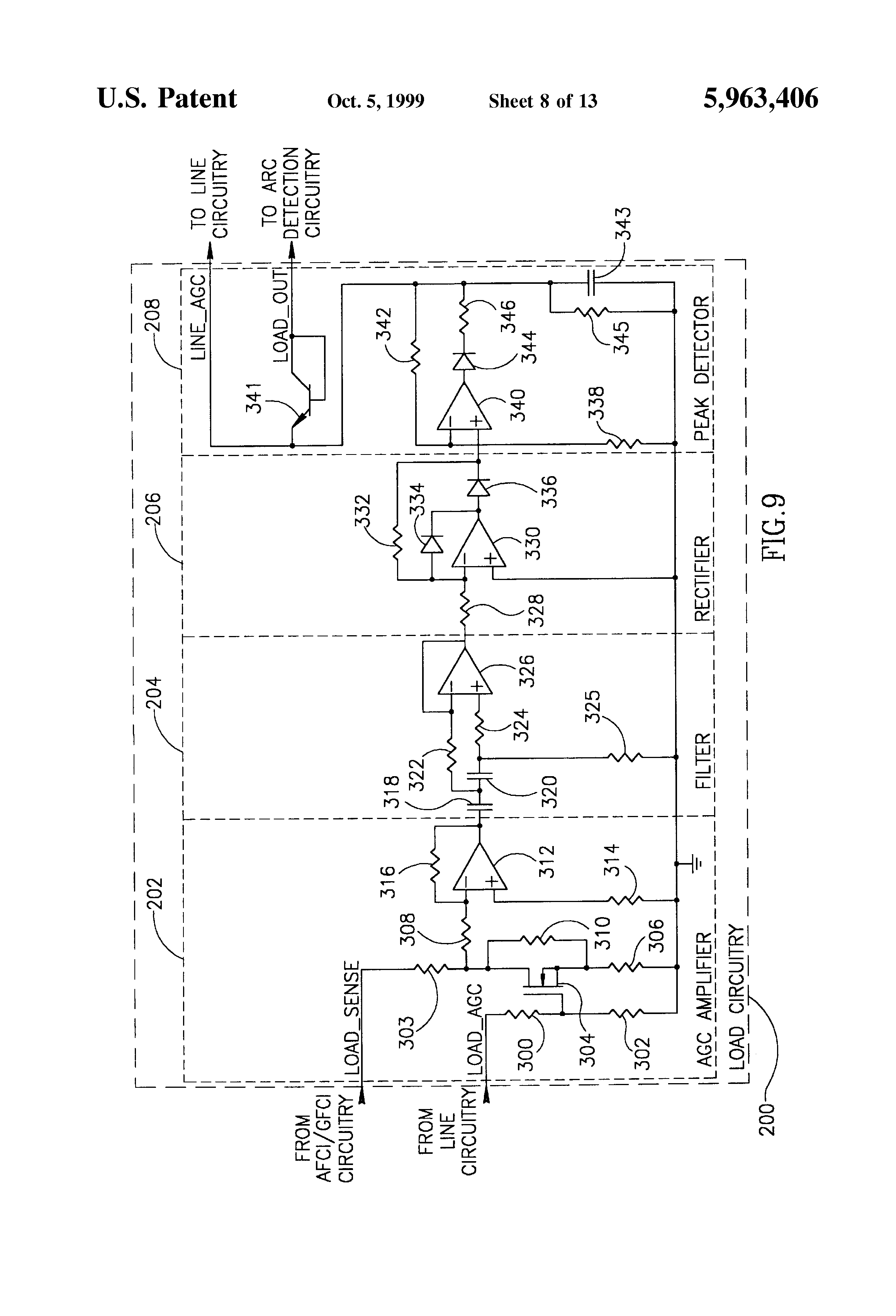 Wiring Arc Fault Schematics Diagrams Breaker Patent Us5963406 Detector With Circuit