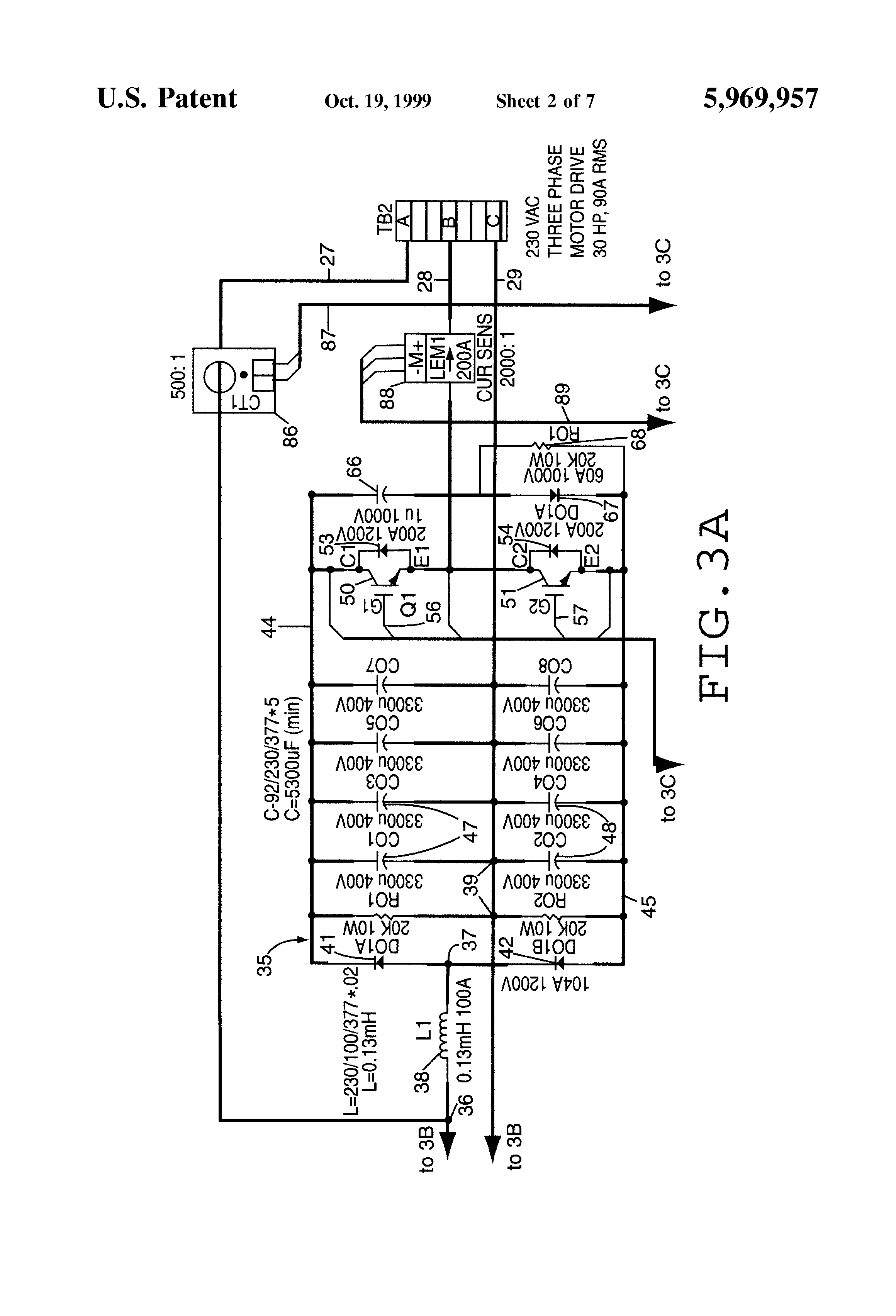 patent us5969957 - single phase to three phase converter
