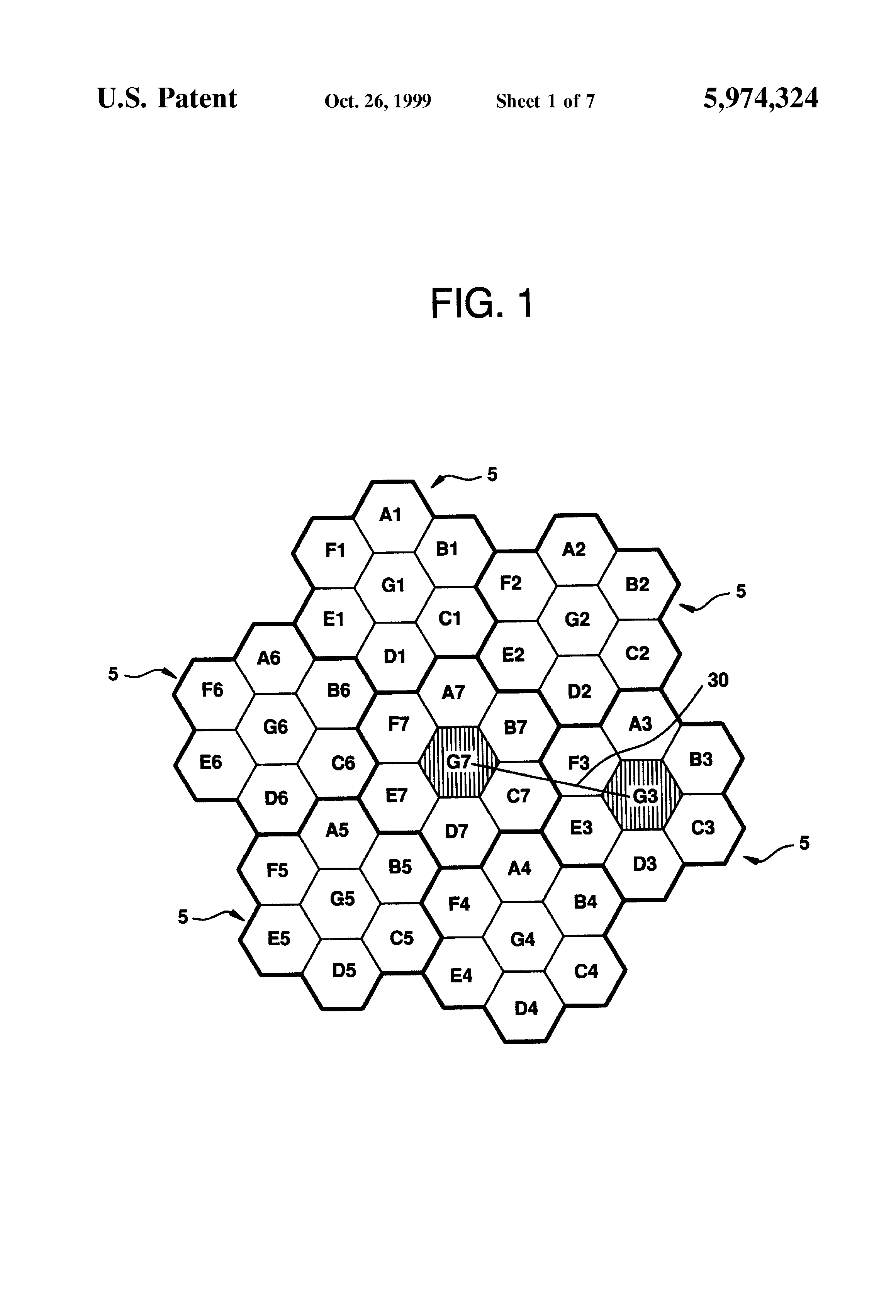 patent us5974324 - adaptive frequency reuse plan