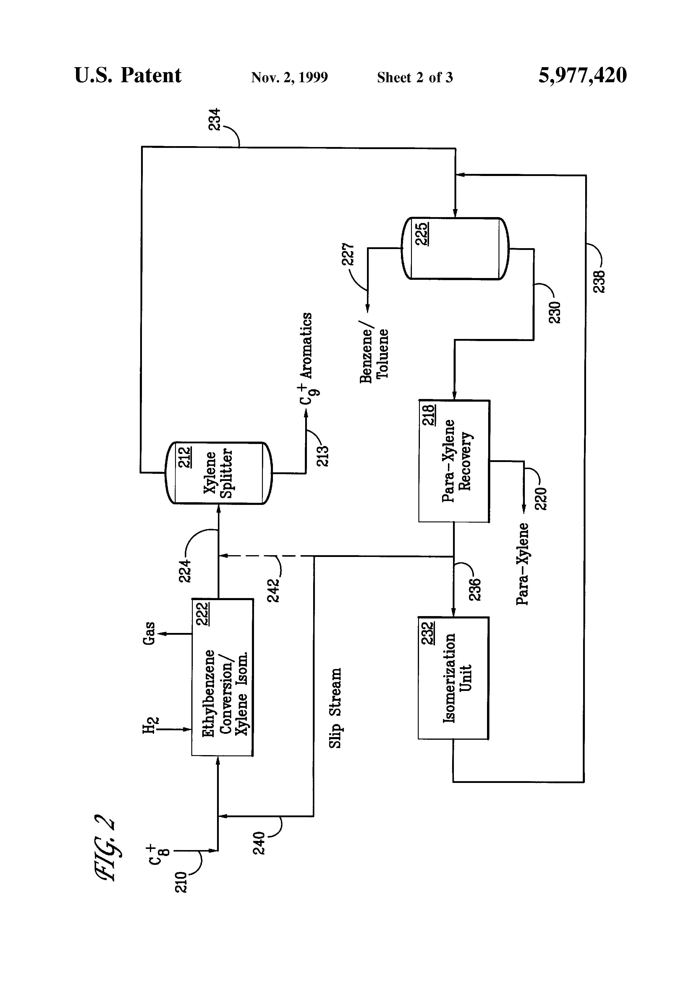 patent us5977420 dual loop xylene isomerization process google rh google gm Process Flow Map Process Flow Diagram Template