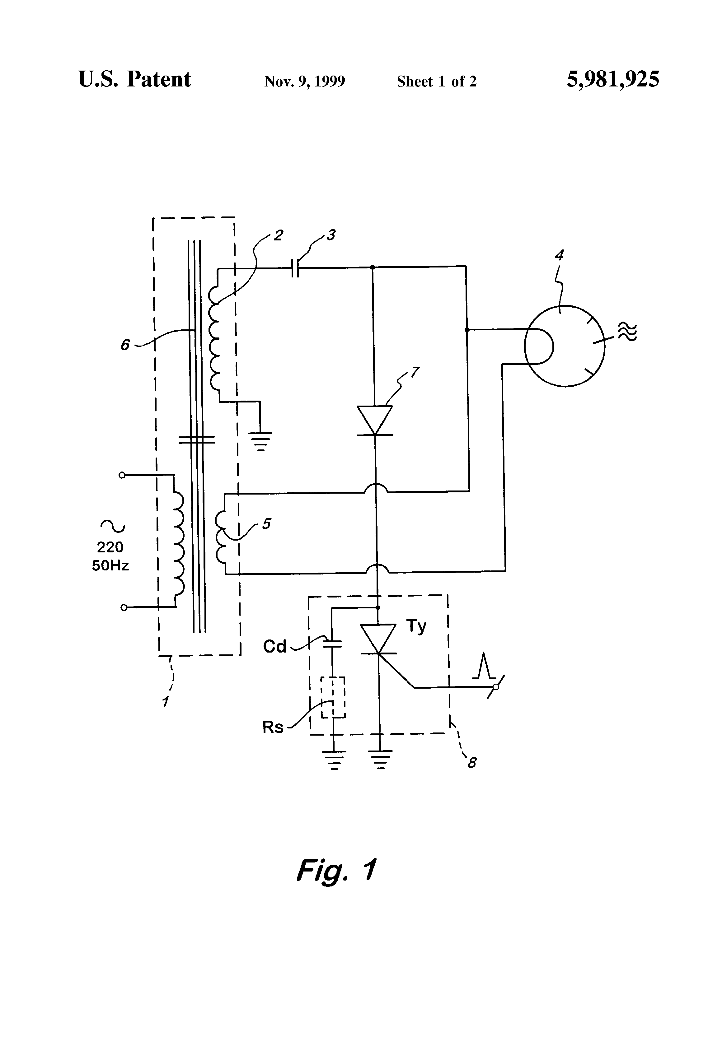 Patent Us5981925 Power Supply For A Continuous Wave Microwave Drive Scr Flash Circuit Diagram Powersupplycircuit Drawing