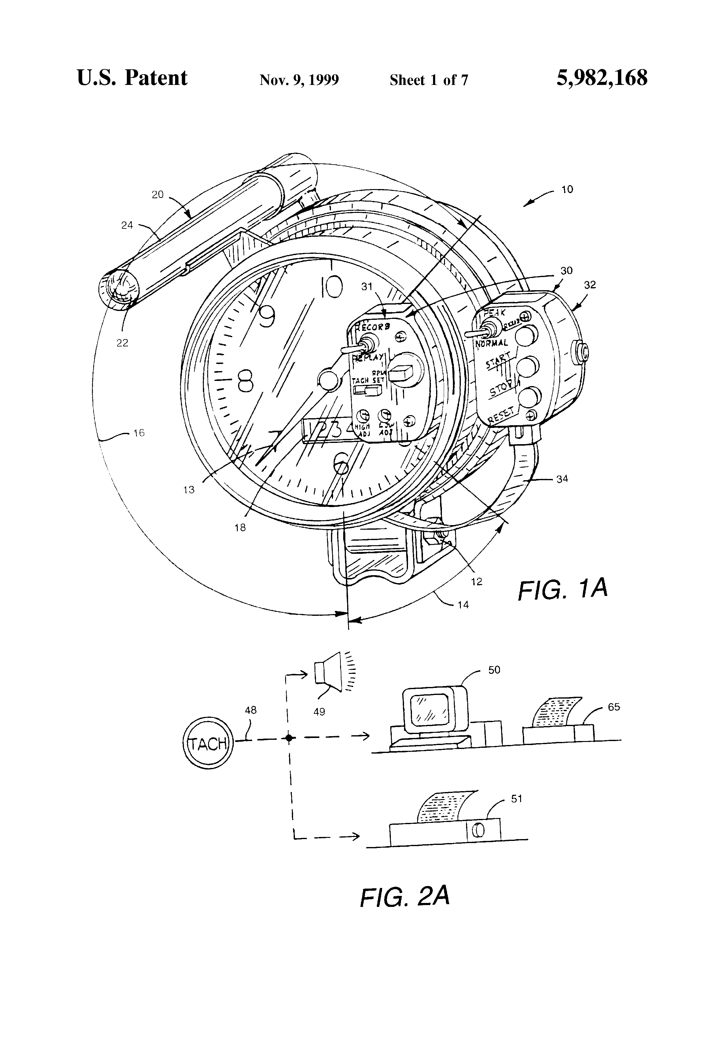 patent us5982168 - high performance tachometer with automatic triggering