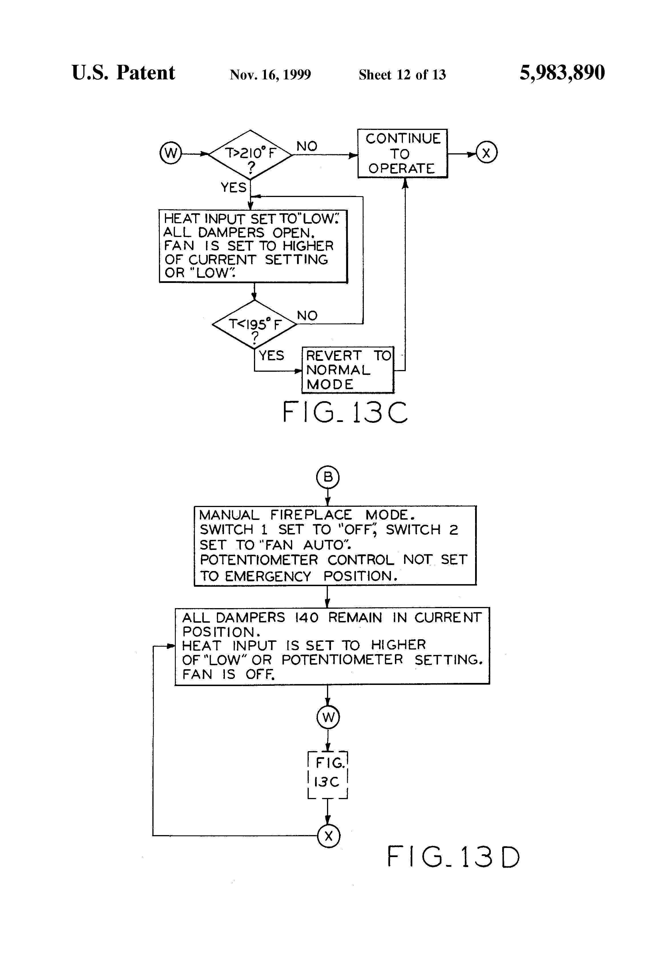 patent us5983890 fireplace having multi zone heating control