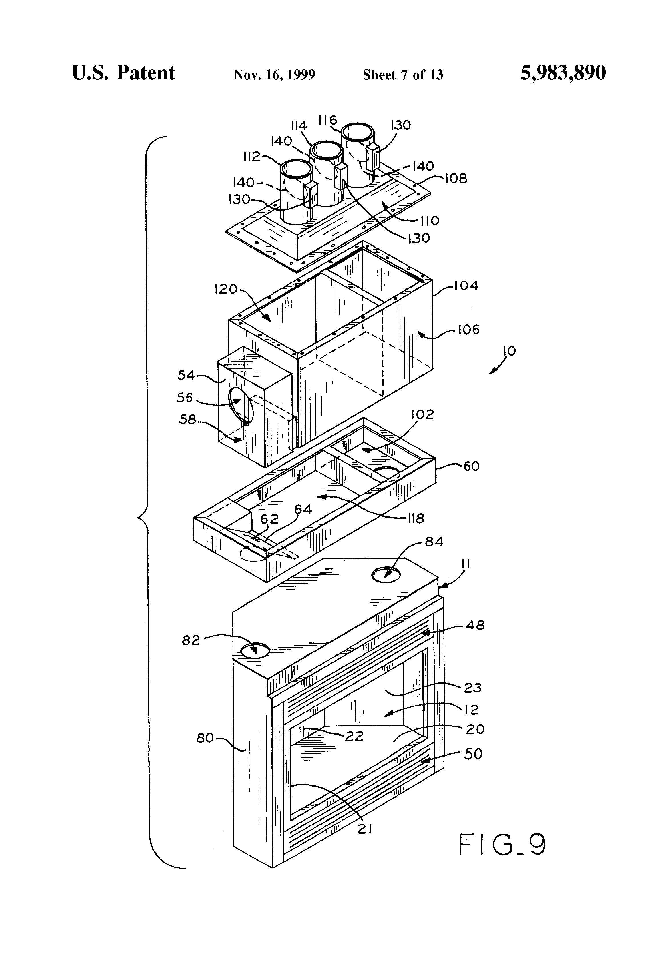 patent us5983890 fireplace having multi zone heating control