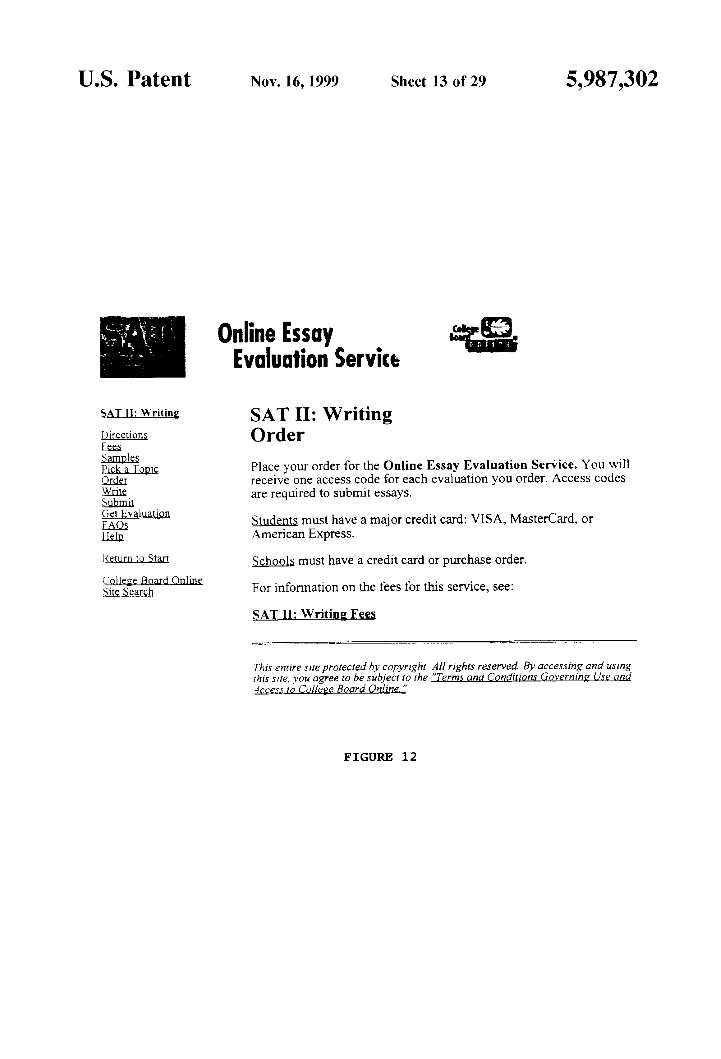 patent us on line essay evaluation system patents patent drawing