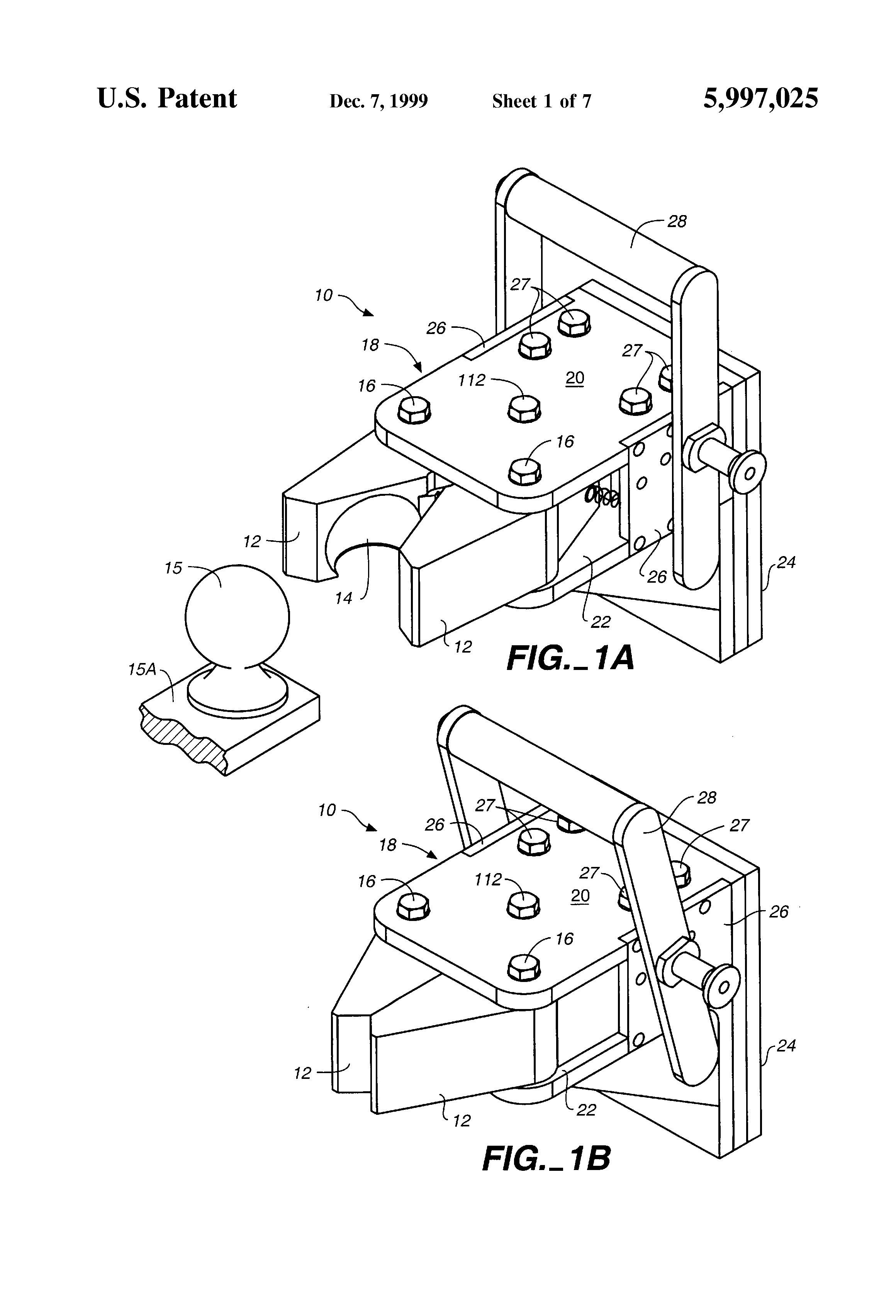Patent Us5997025 Self Locking Trailer Hitch Google Patents Coupler Diagram Drawing