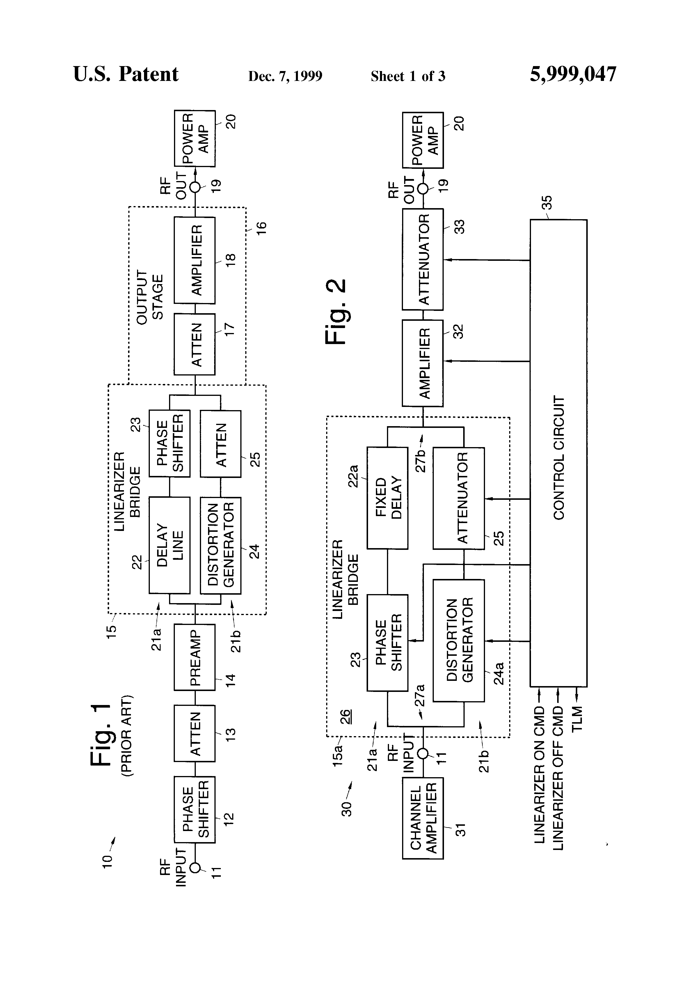 patent us5999047 - linearizer for use with rf power amplifiers