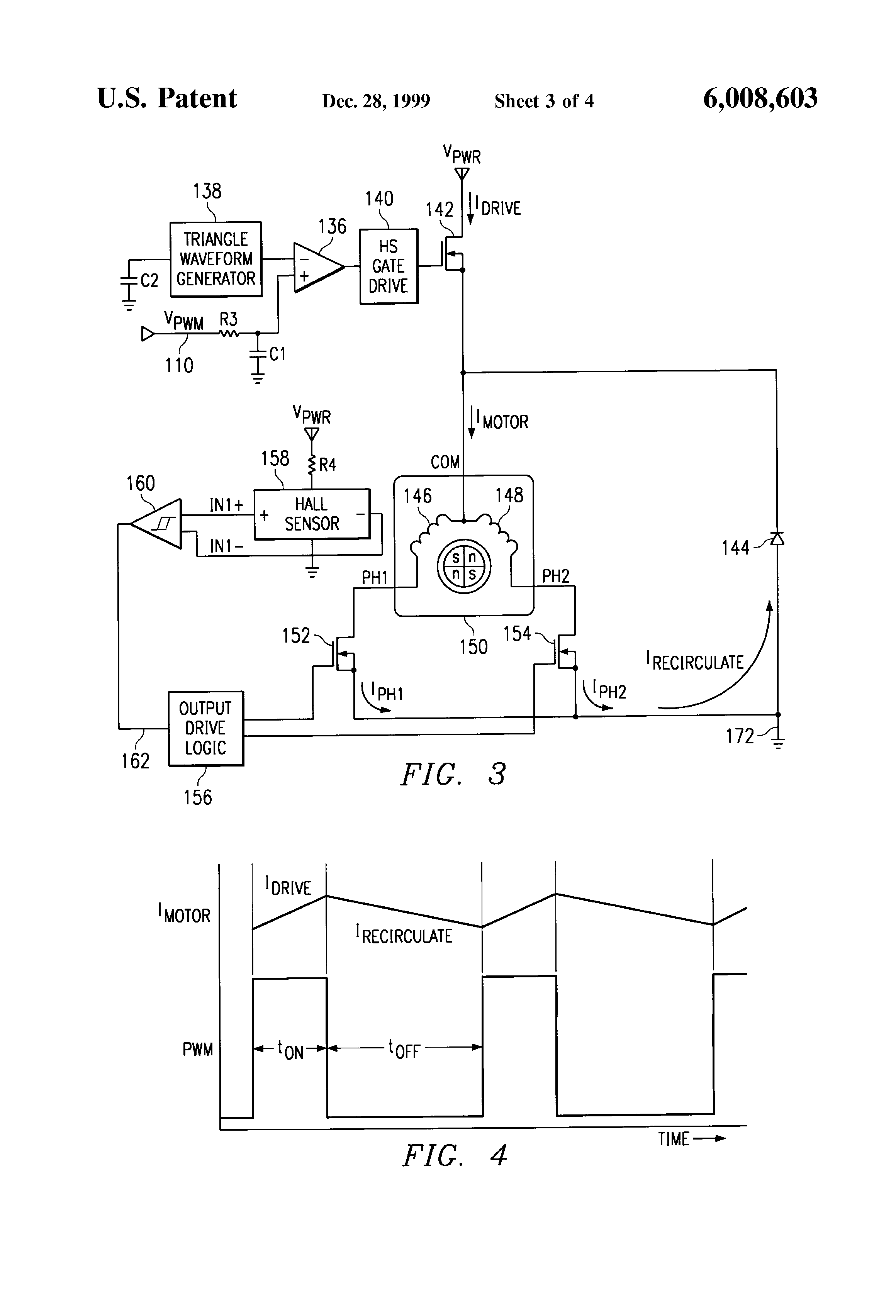 Patent US6008603 Brushless DC motor assembly control circuit – Diehl Electric Motors Wiring Diagram
