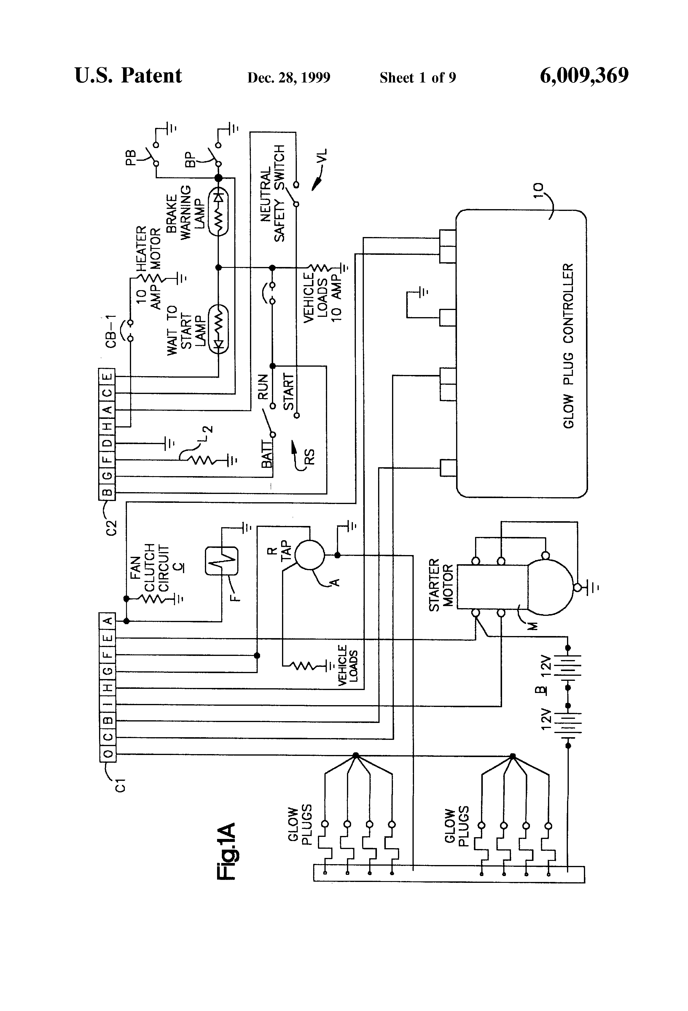 patent us6009369 voltage monitoring glow plug controller patent drawing