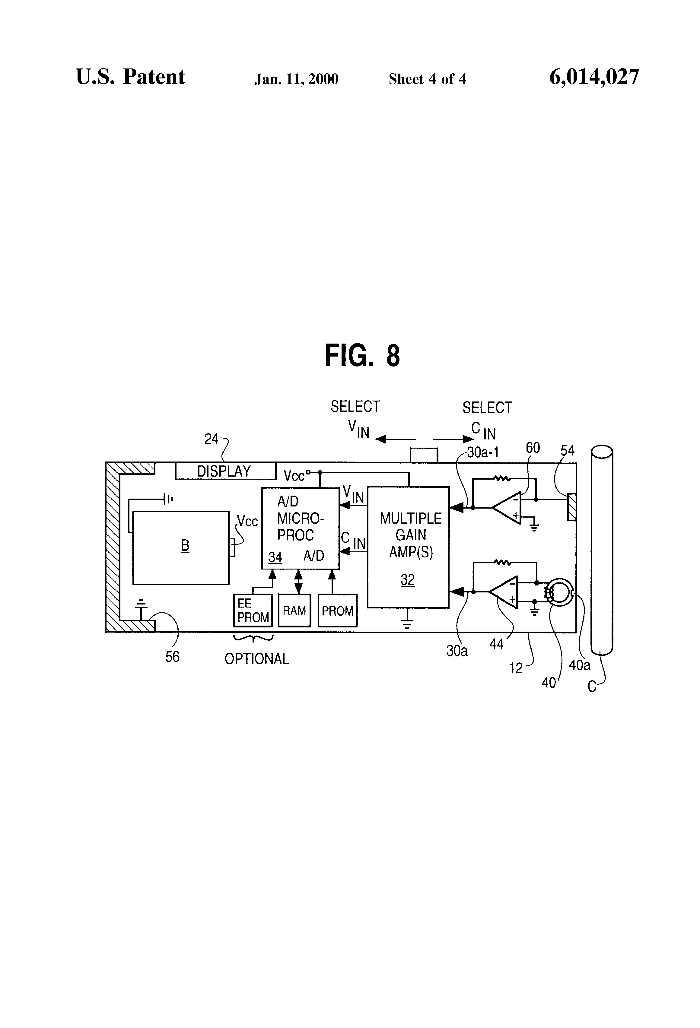 Patent Us6014027 Current And Voltage Probe For Measuring Harmonic Jfet Dc Voltmeter With Low Drift High Impedance Drawing