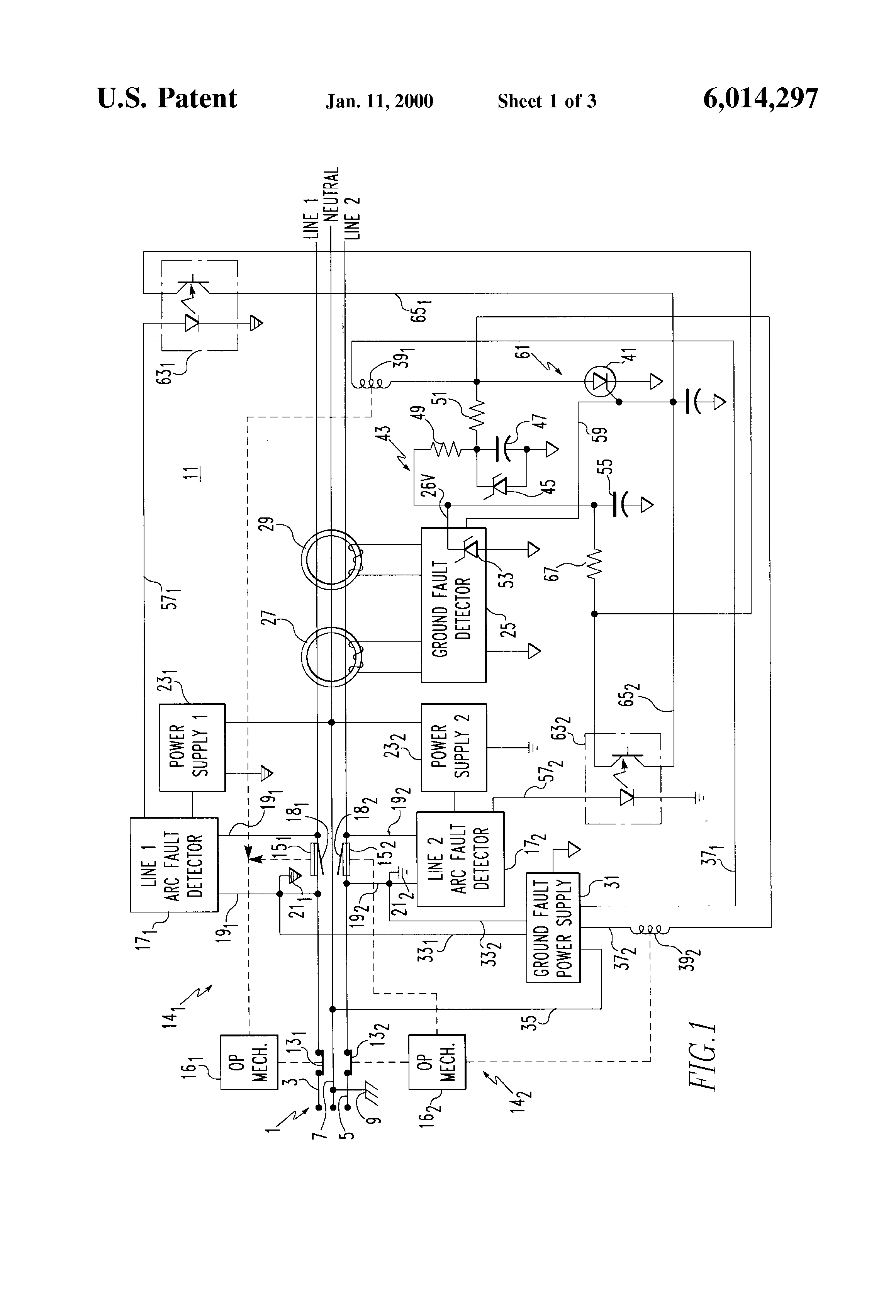 Multi Wire Branch Circuit Common Neutral House Wiring Diagram Patent Us6014297 Apparatus For Detecting Arcing Faults And Ground In Multiwire Single