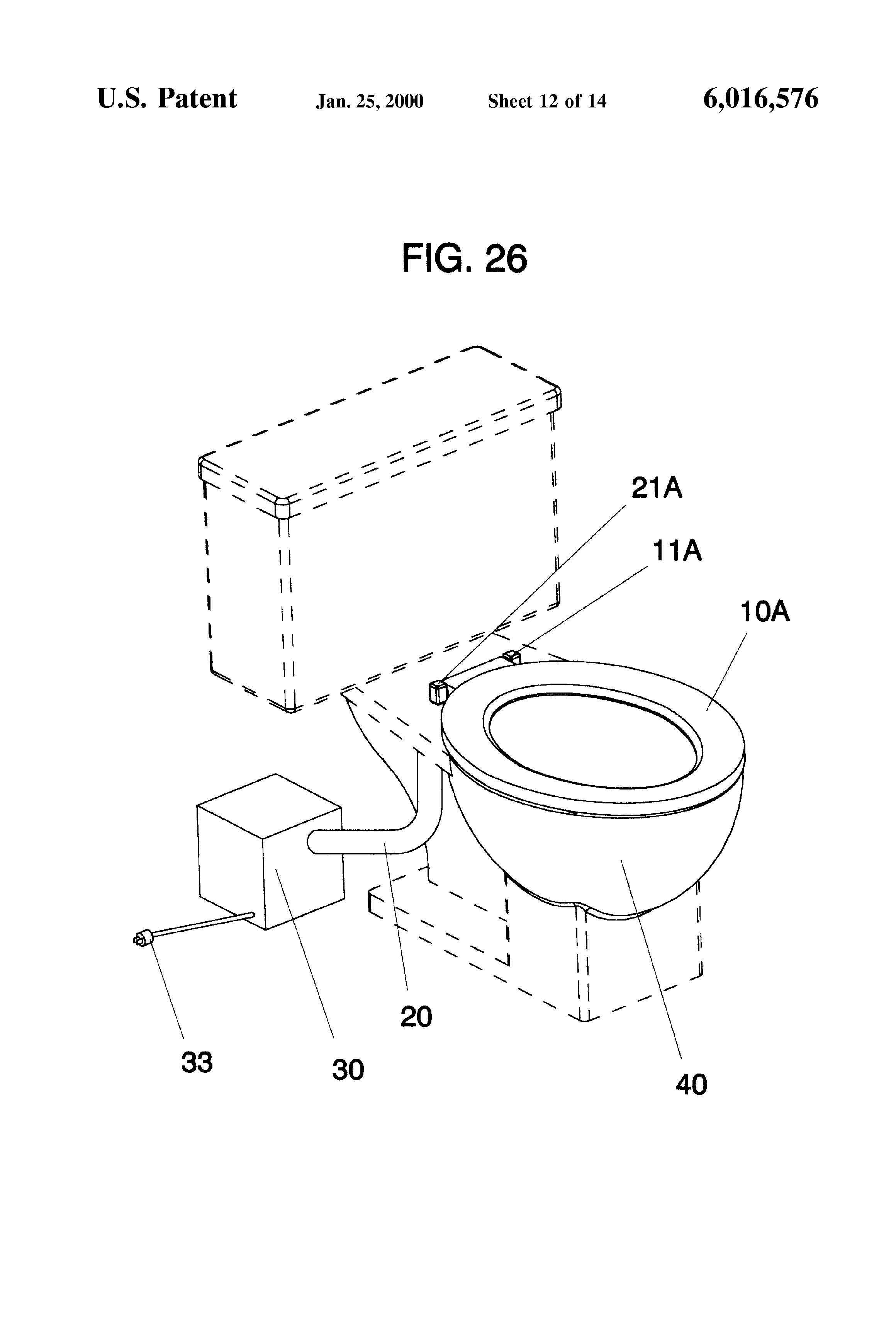 patent us6016576 - toilet odor removal system