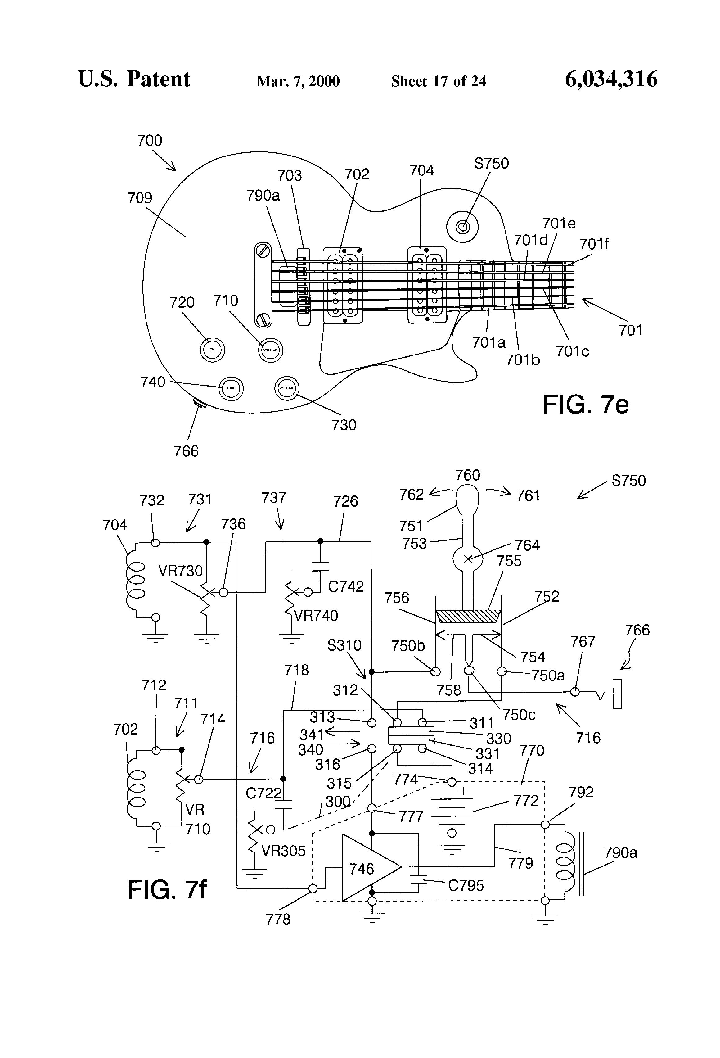 US6034316 18 patent us6034316 controls for musical instrument sustainers sustainiac wiring diagram at crackthecode.co