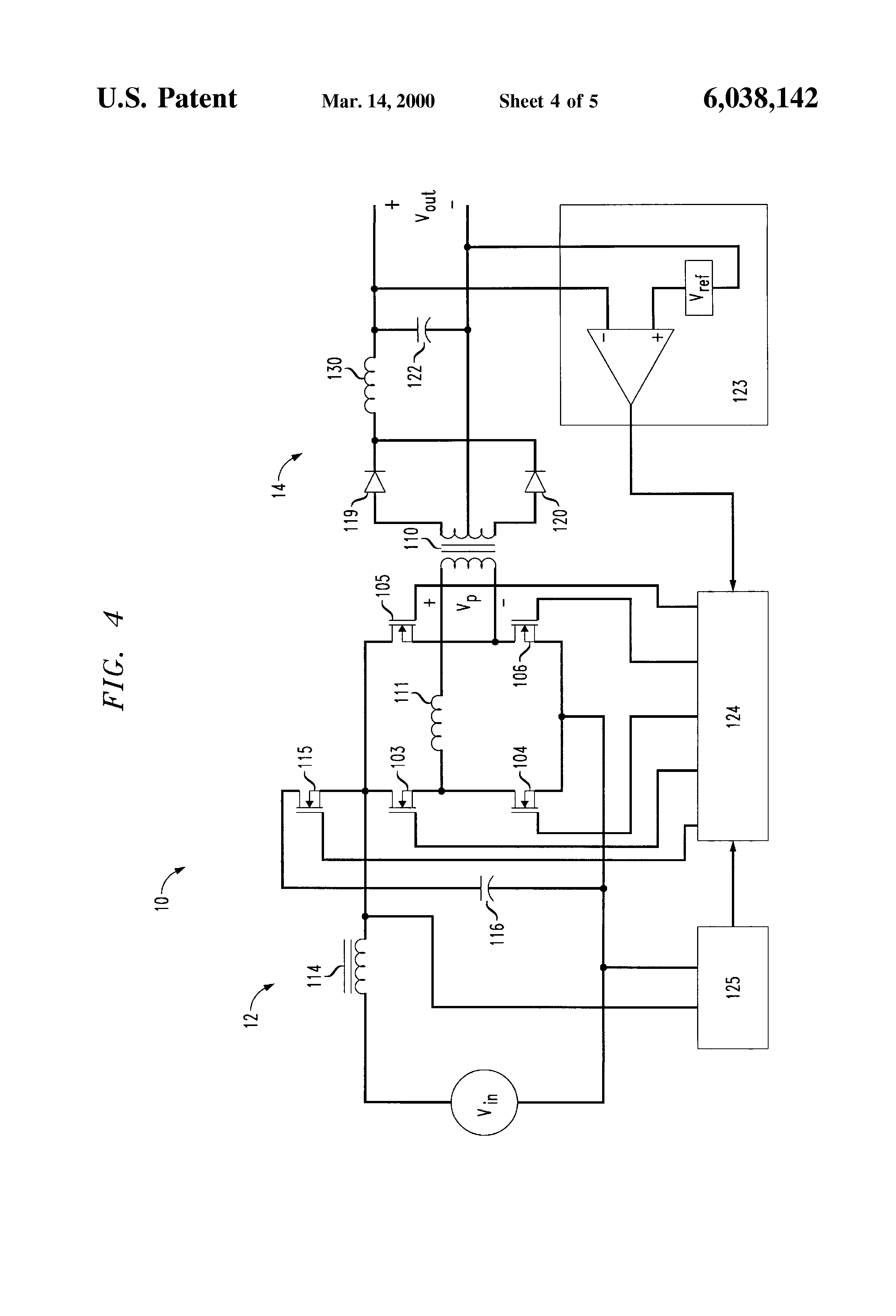 patent us6038142 - full-bridge isolated current fed converter with active clamp