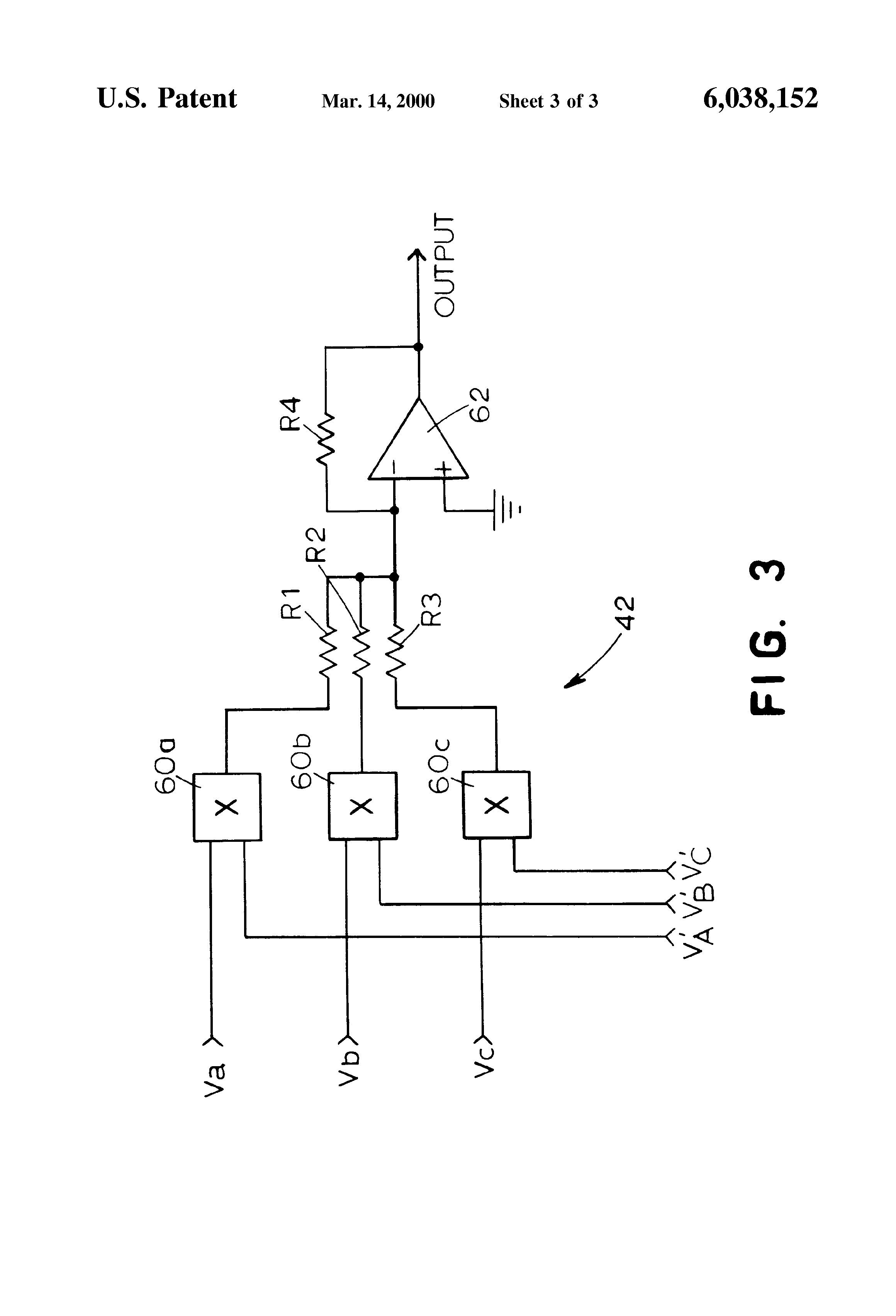 patent us6038152 - active rectifier utilizing a fixed switching pattern