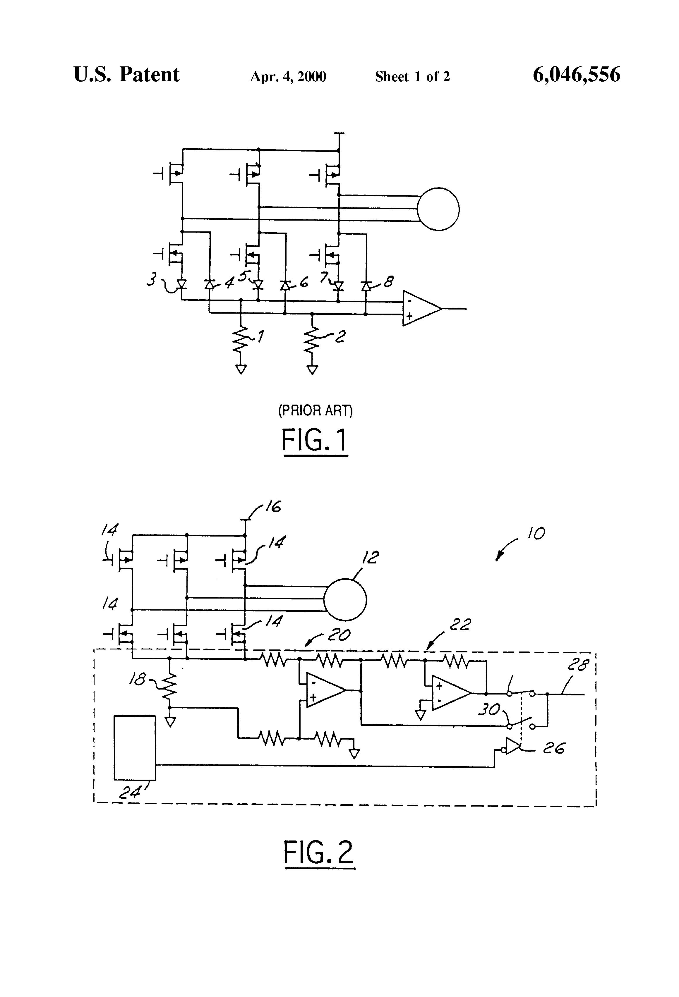 Patent us6046556 motor current sensing circuit google for Motor current sensing circuit