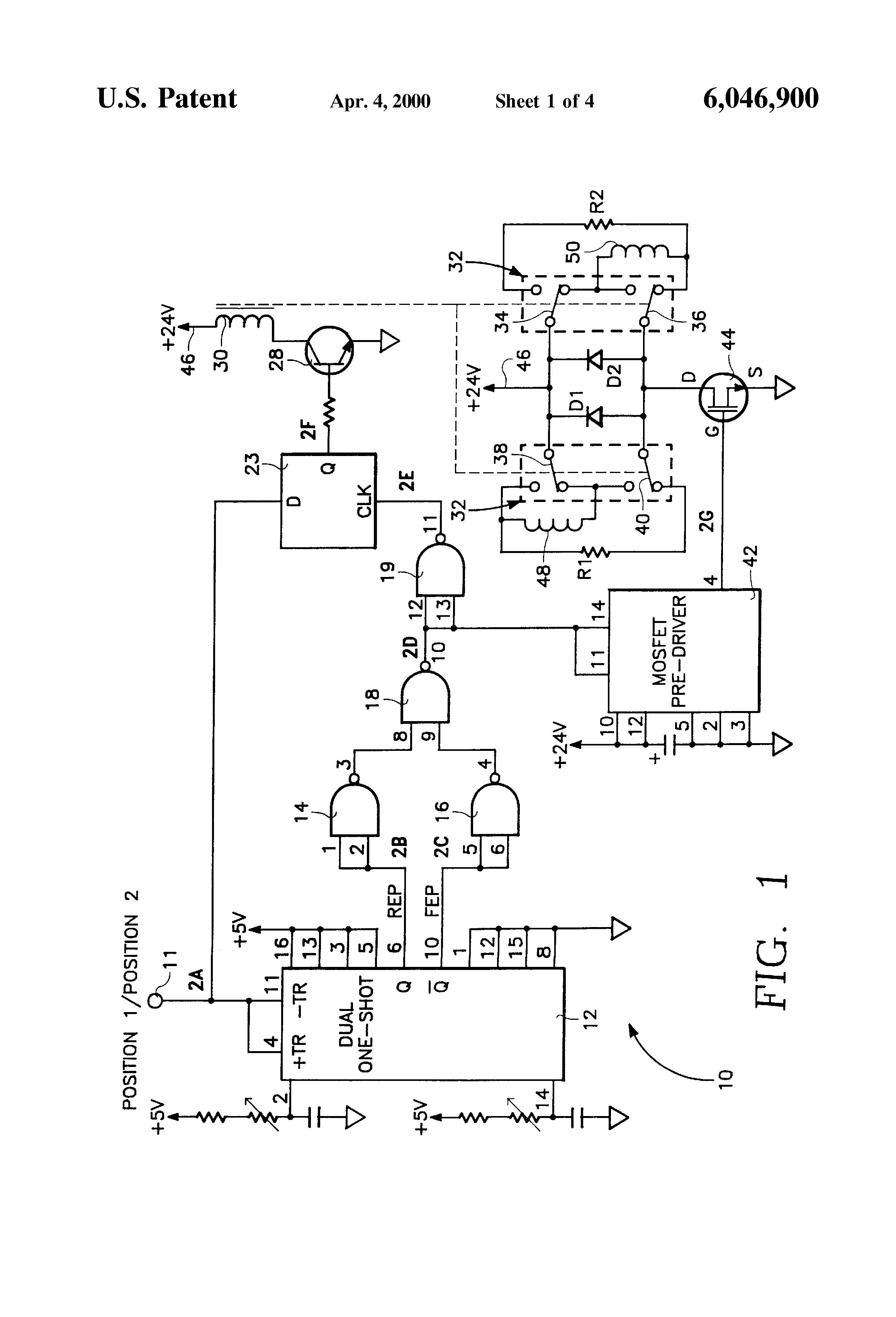 Patente Us6046900 Solenoid Driver Circuit For Use With Digital Bistable Latching Circuitry Patent Drawing