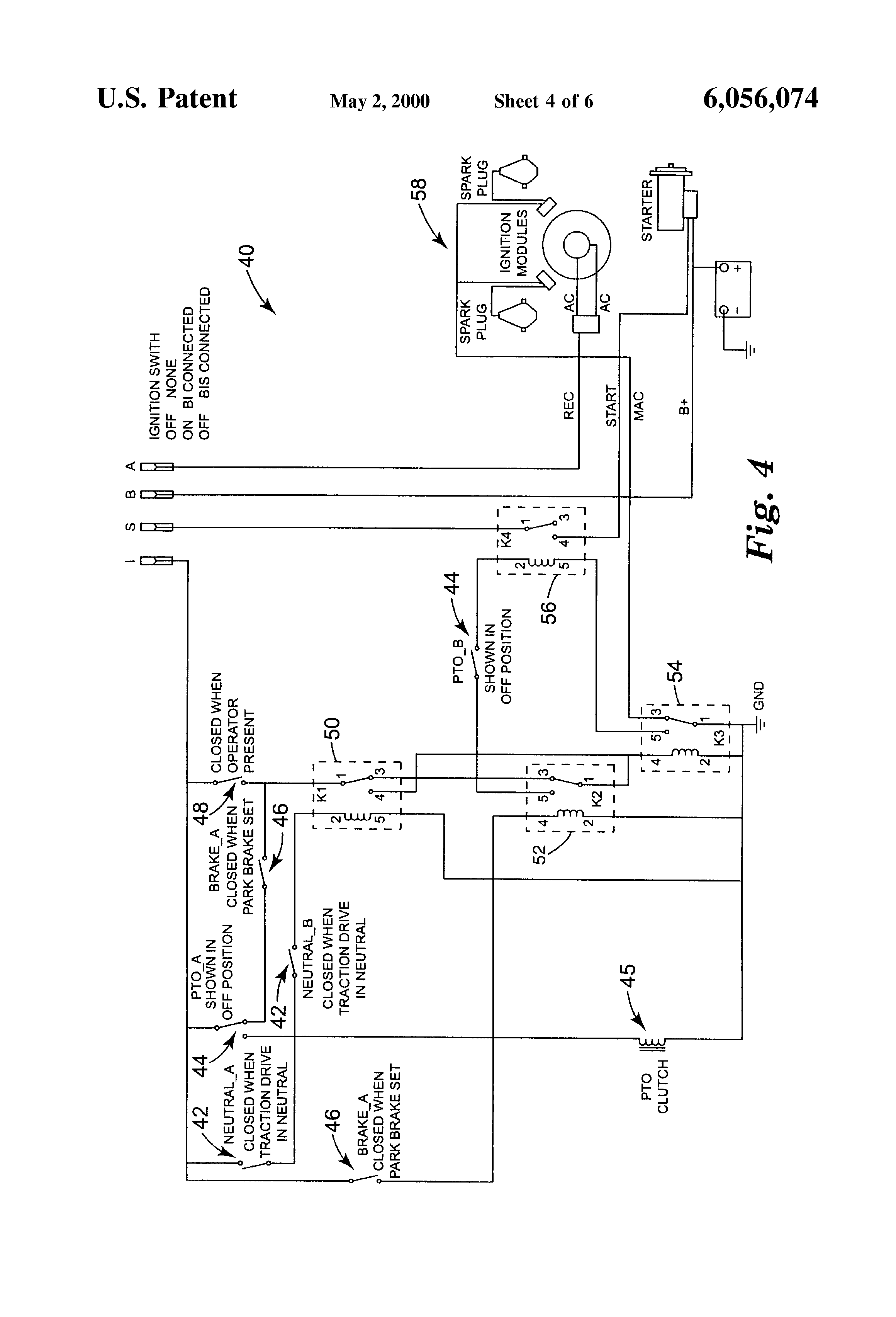 Patent US6056074 Mower with noncontact drive system interlock – Excel Mower Wiring Diagram