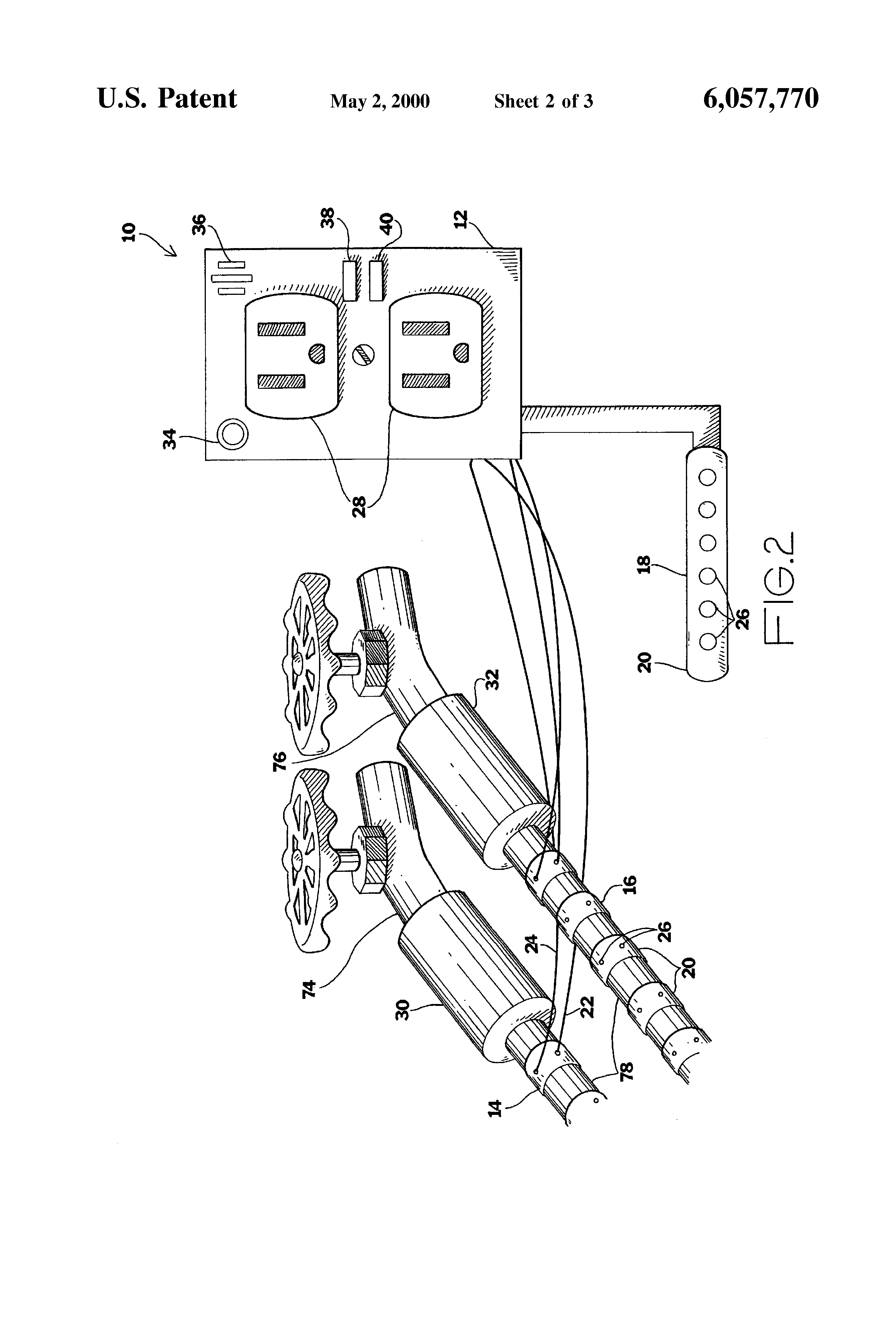 patent us6057770 - water leakage detection and flood prevention device