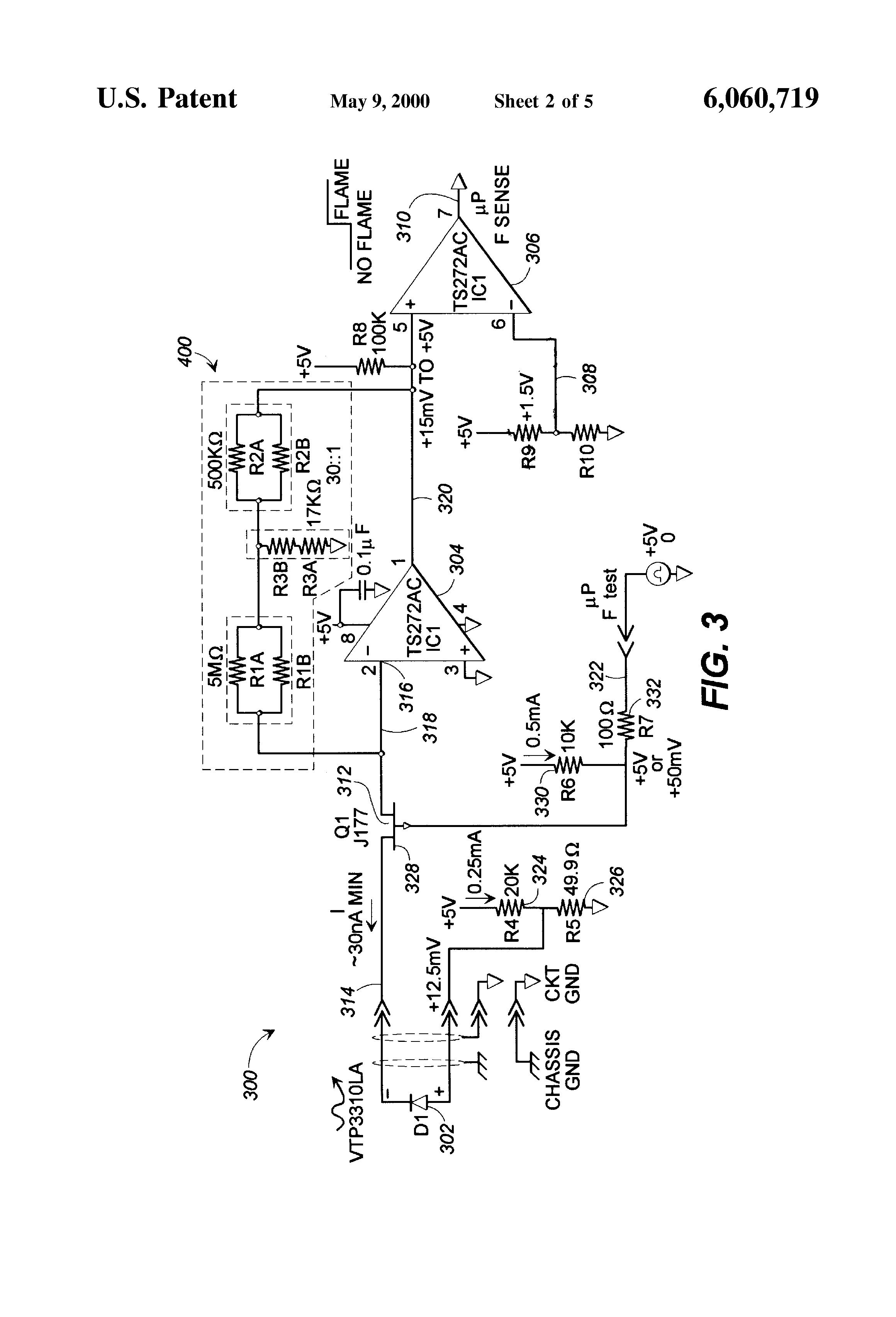 patent us6060719 fail safe gas furnace optical flame sensor patent drawing