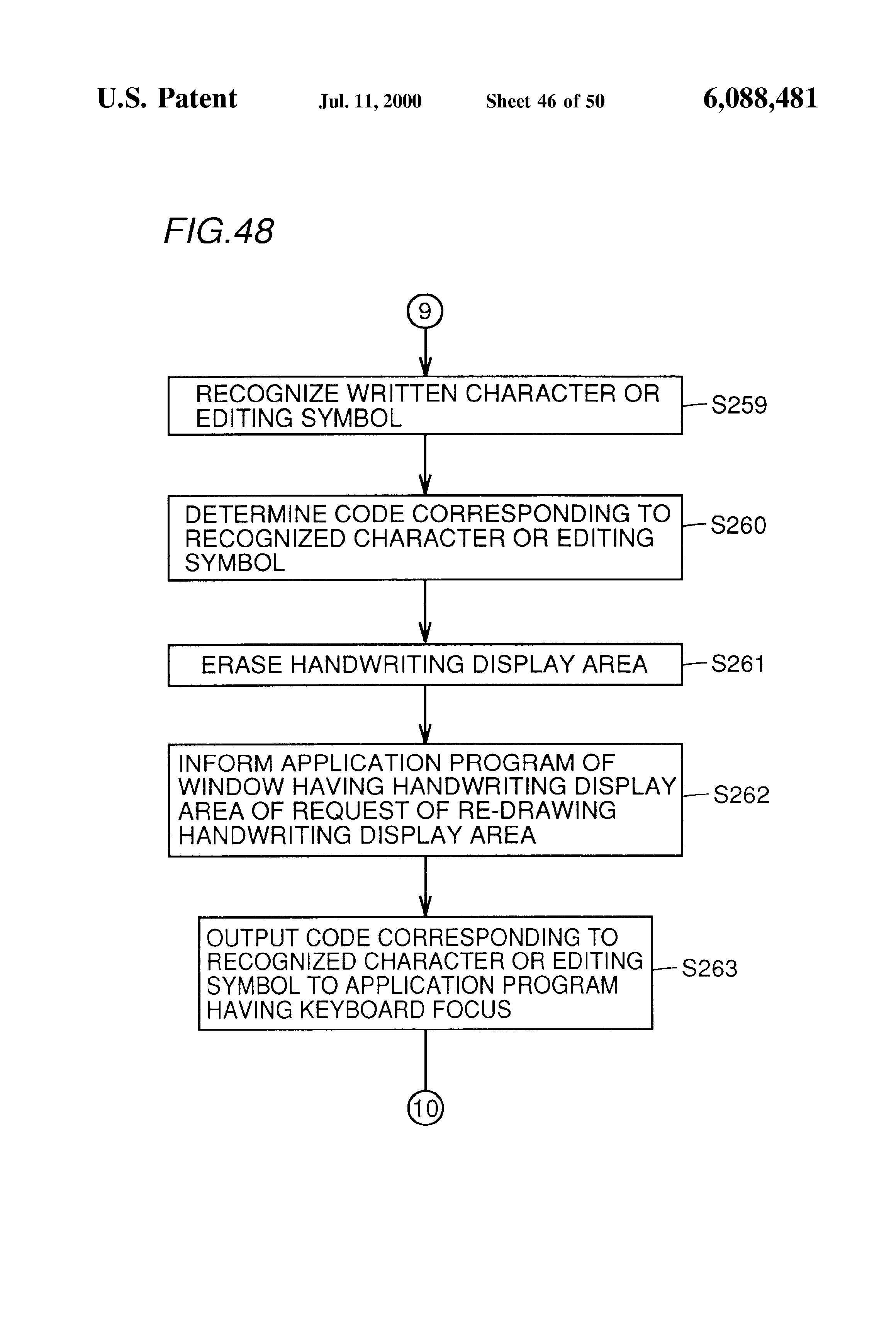 Patent US6088481 Handwritten character input device allowing
