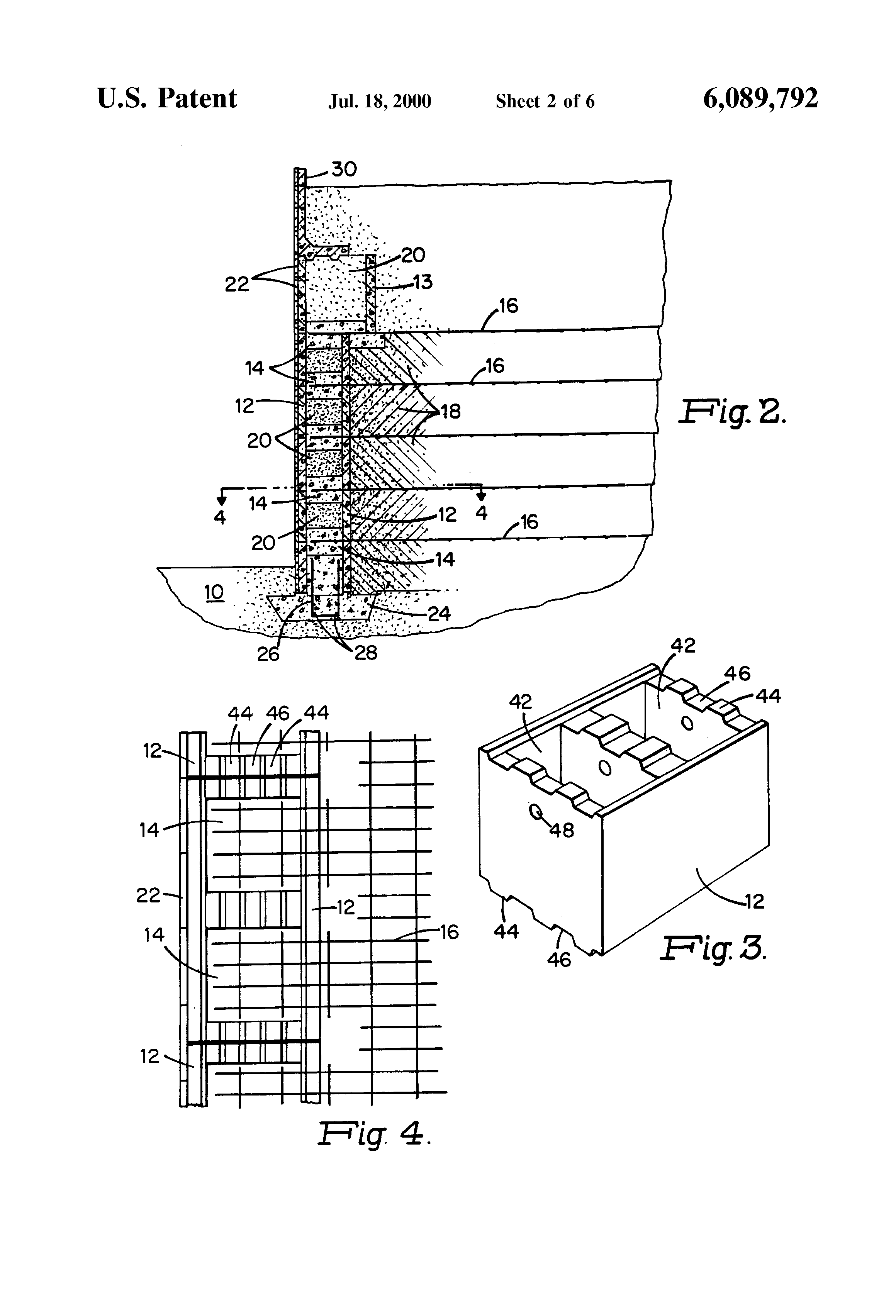 Patent US6089792 Reinforced retaining wall Google Patents