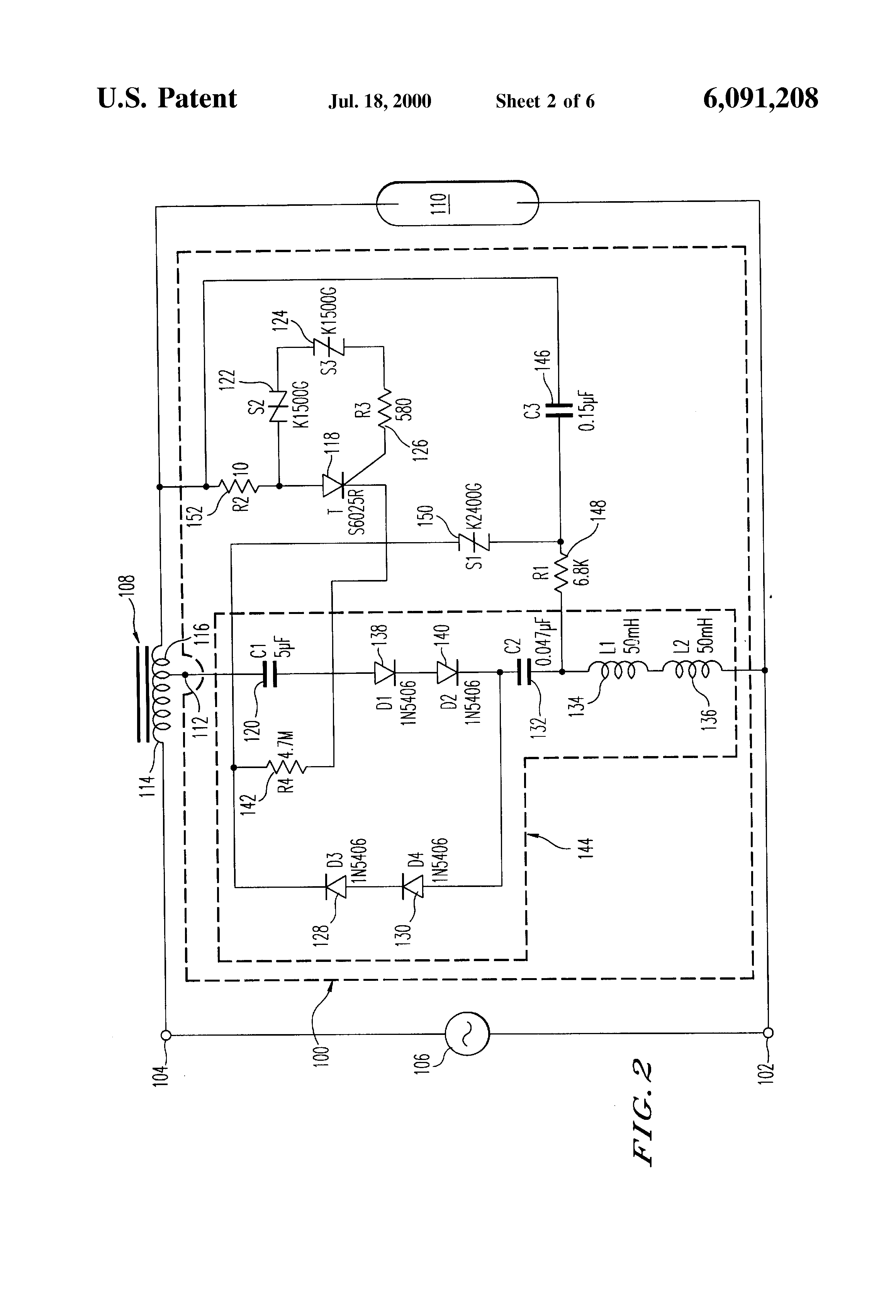 patent us6091208 lamp ignitor for starting conventional hid patent drawing