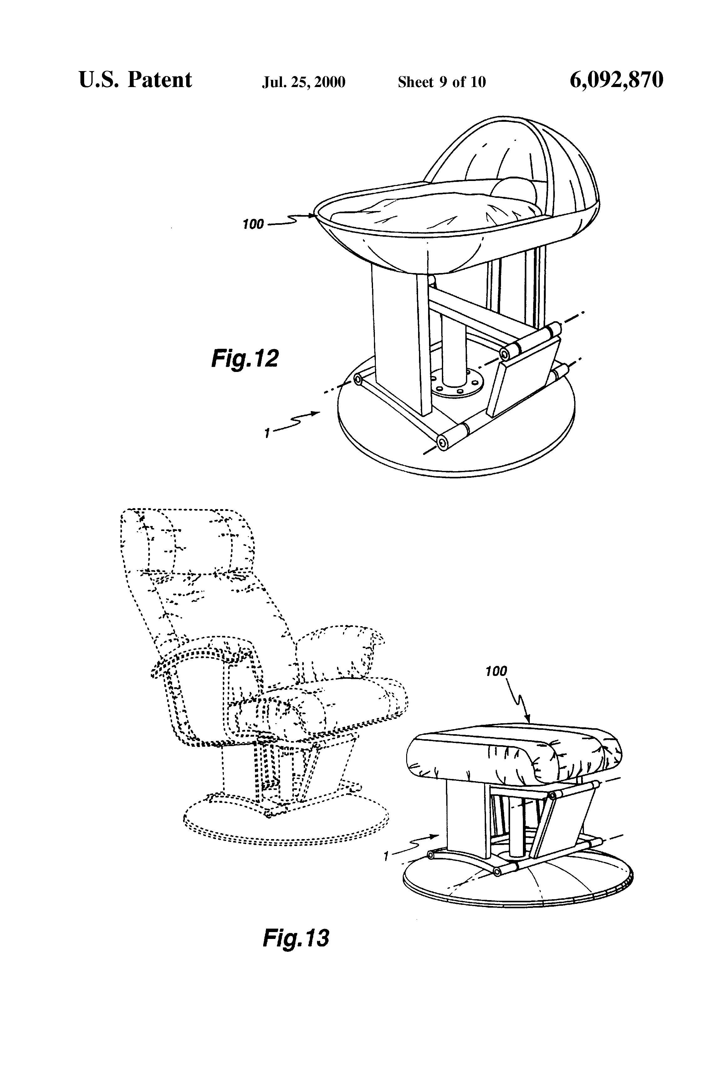 Gliding chair mechanism - Patent Drawing