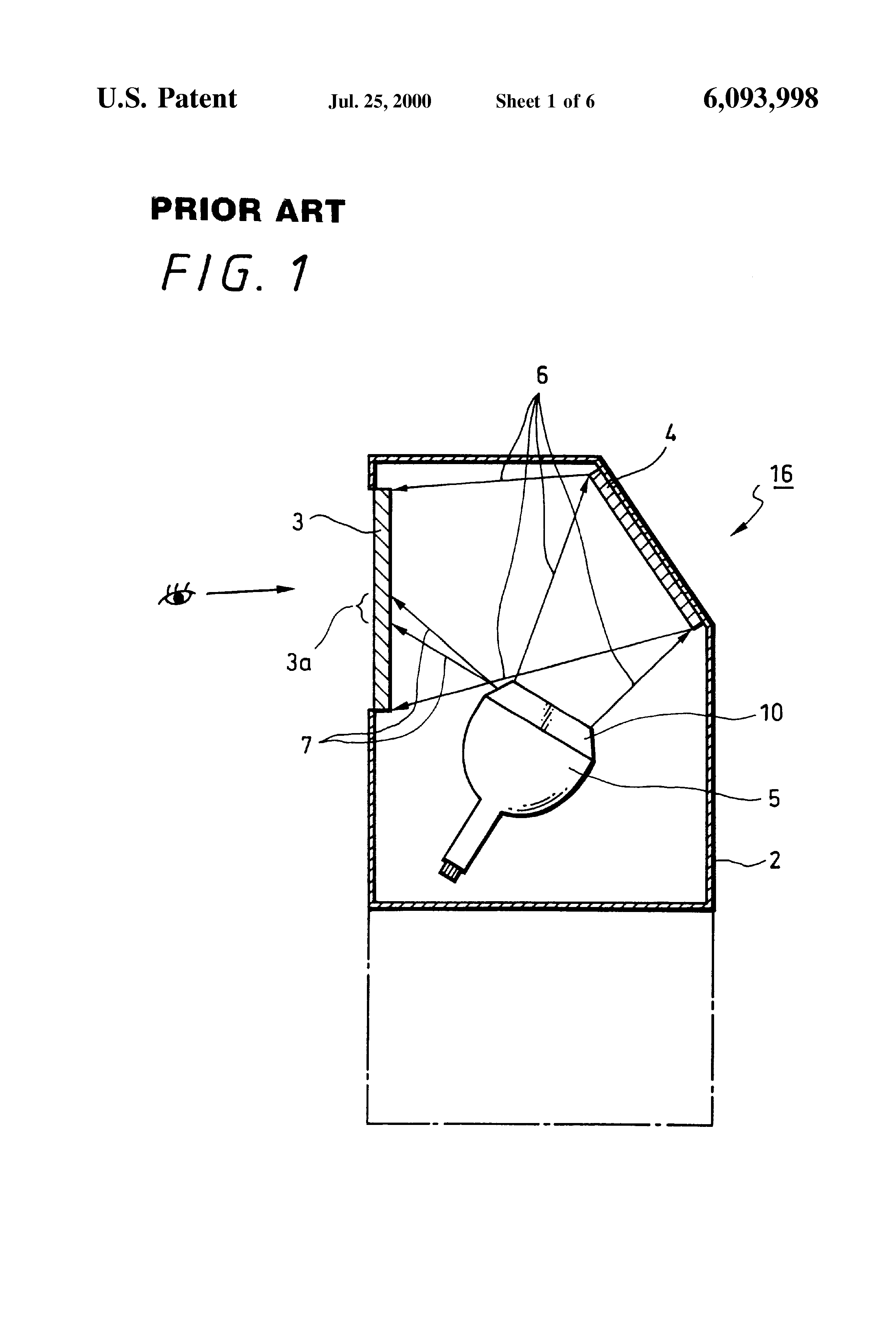 Patent Us6093998 Liquid Cooling Type Cathode Ray Tube With Light Diagram Drawing
