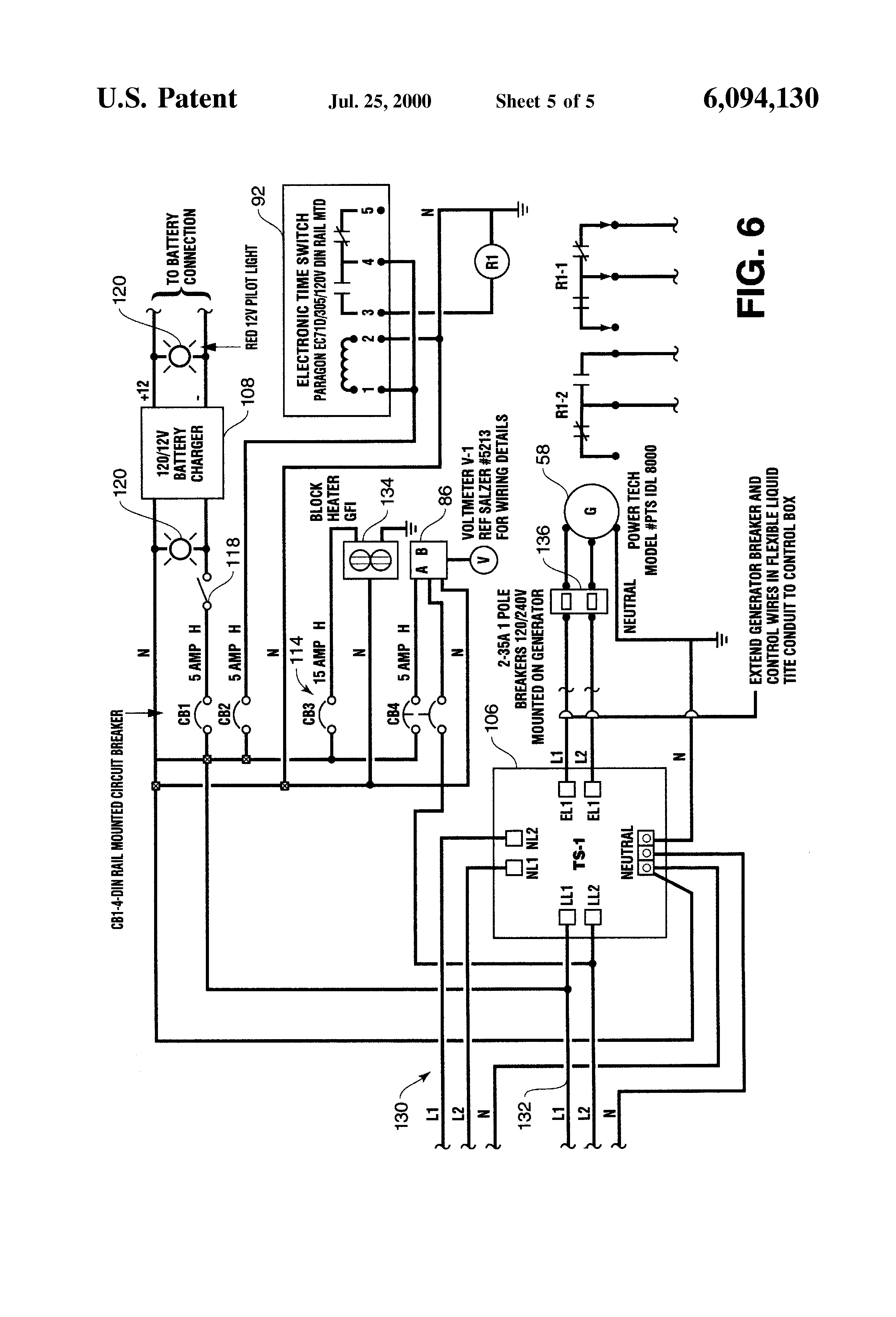 Patent Us6094130 Emergency Power Station For Traffic Control 120 240v Generator Wiring Diagram Drawing