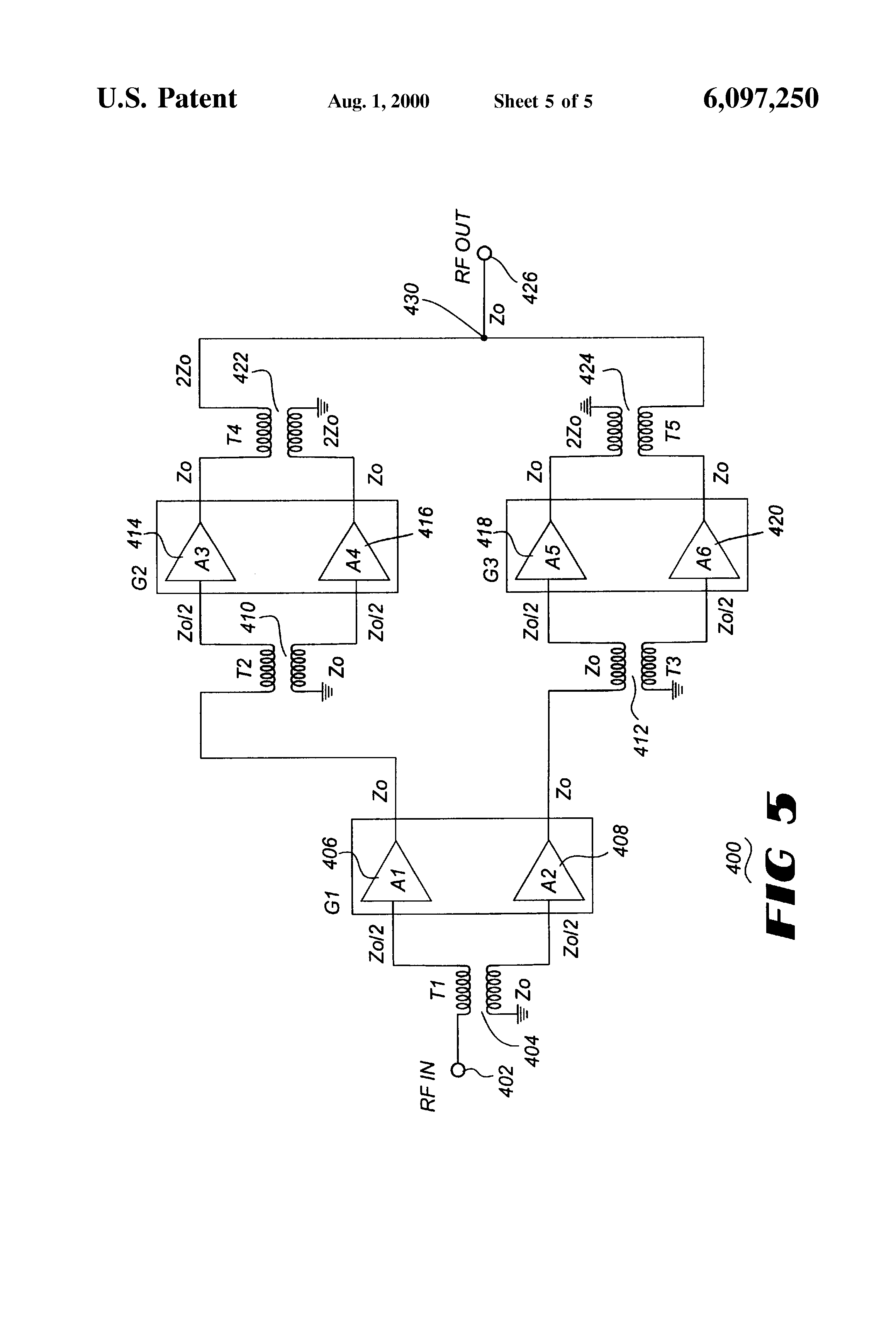 Brevet Us6097250 Amplifier Circuit Google Brevets 232 Serial Port Diagram Amplifiercircuit Patent Drawing
