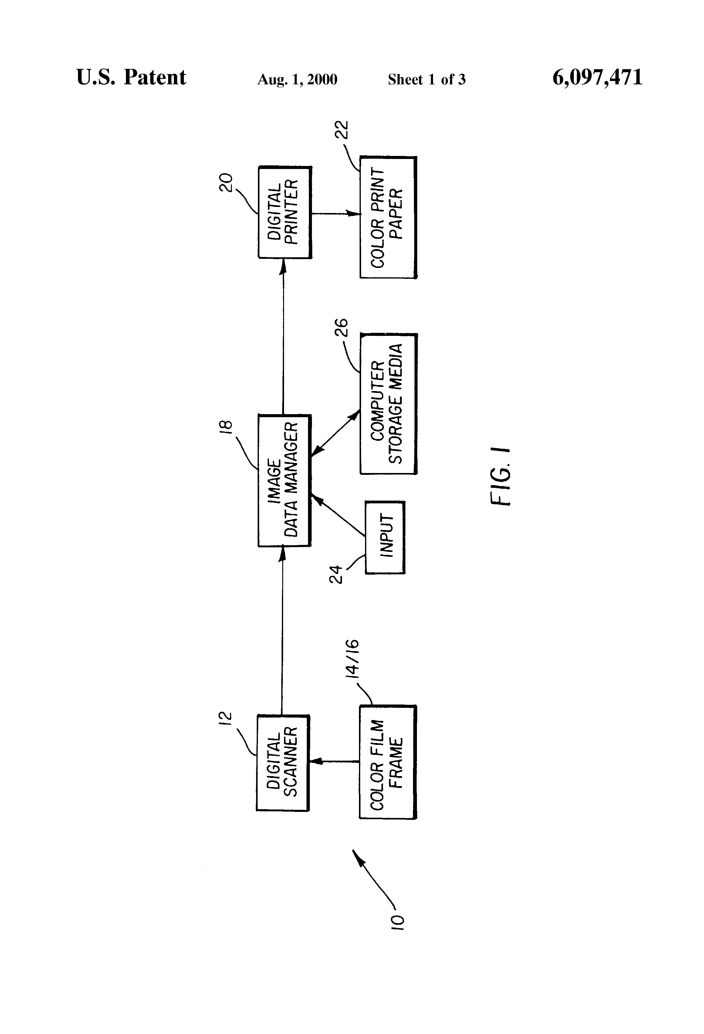 Patent Us6097471 Digital Photofinishing System Including Film Diagram Of A Printer Drawing