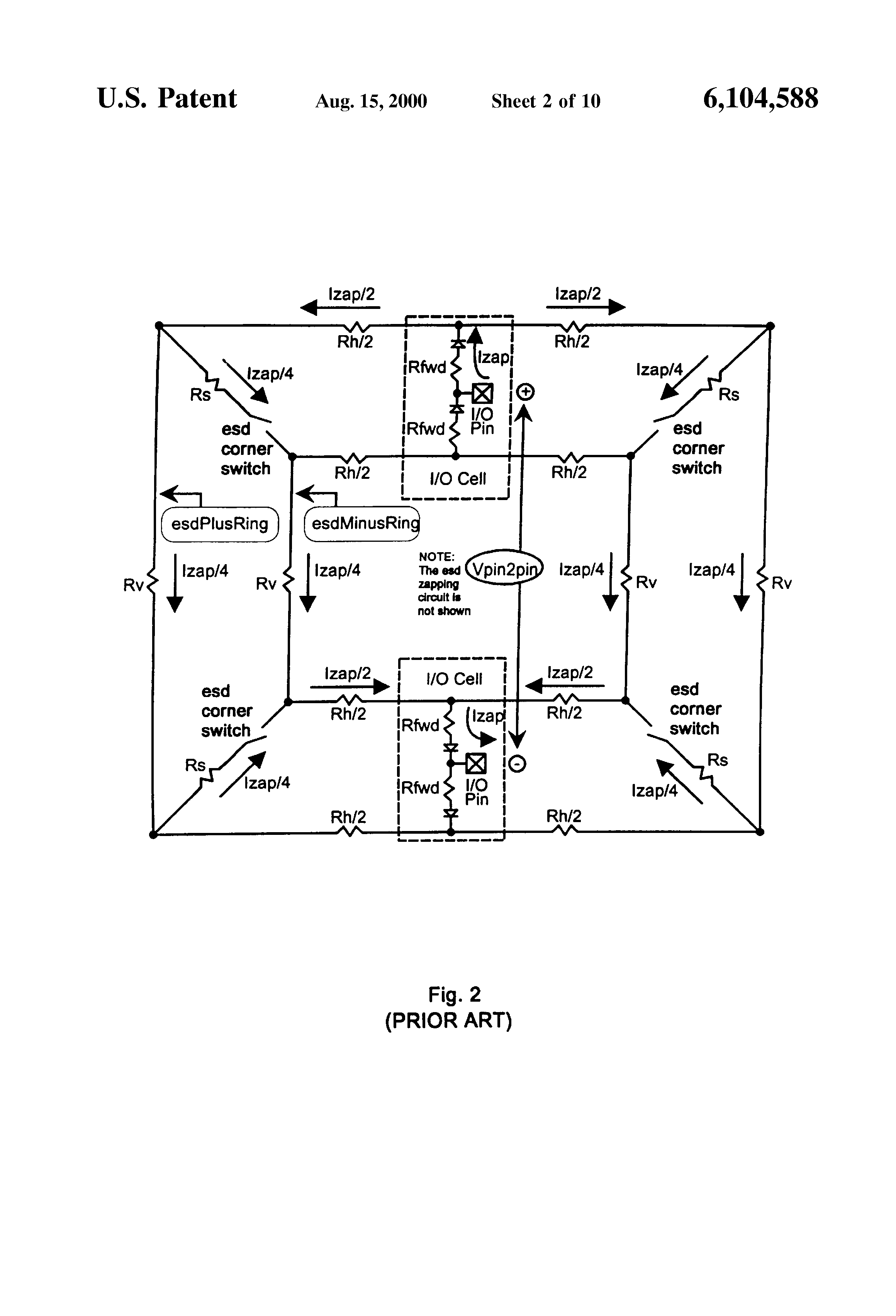 Patent Us6104588 Low Noise Electrostatic Discharge Protection Esd Design Onchip With Mixedmode Circuit Simulation Drawing