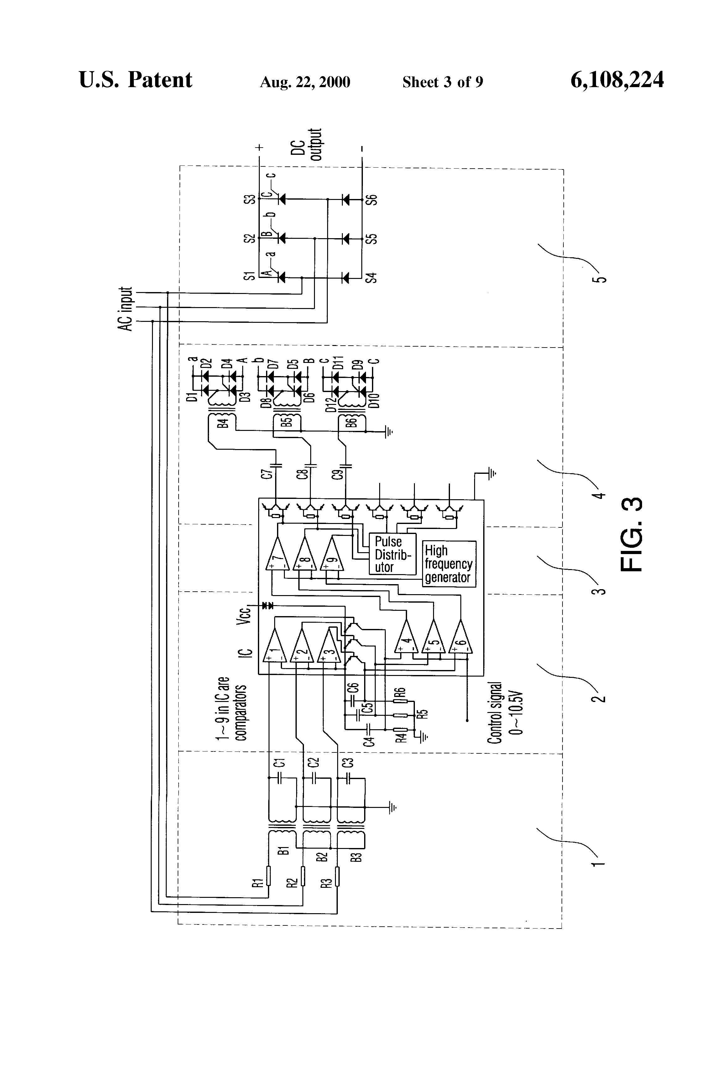 Patent Us6108224 Phase Shift Triggering Circuit For Thyristor And Triangle Sine Wave Converter Basiccircuit Drawing