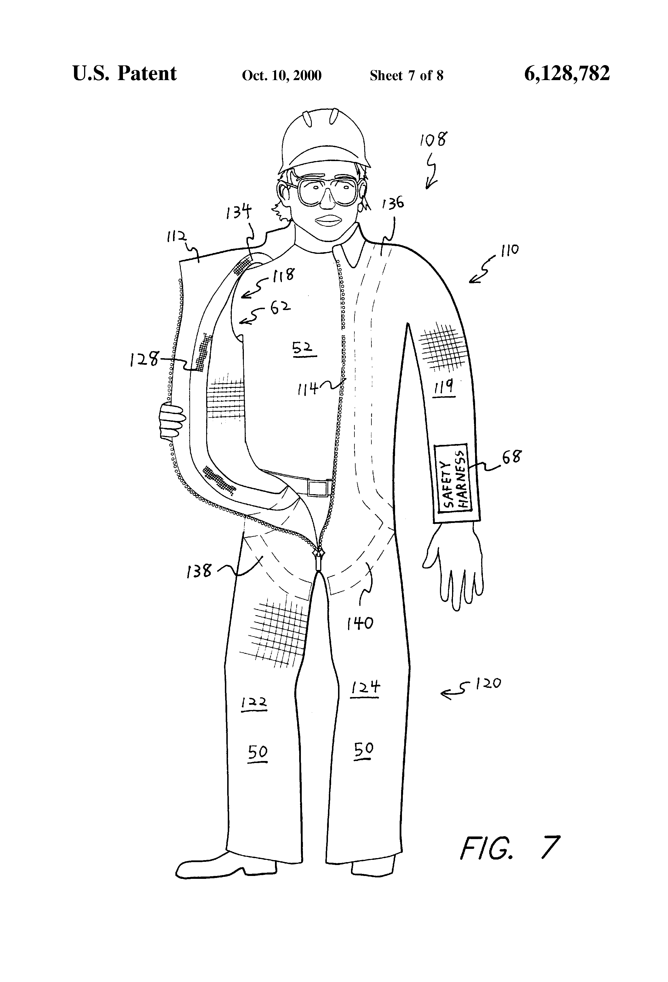 patent us6128782  safety harness for