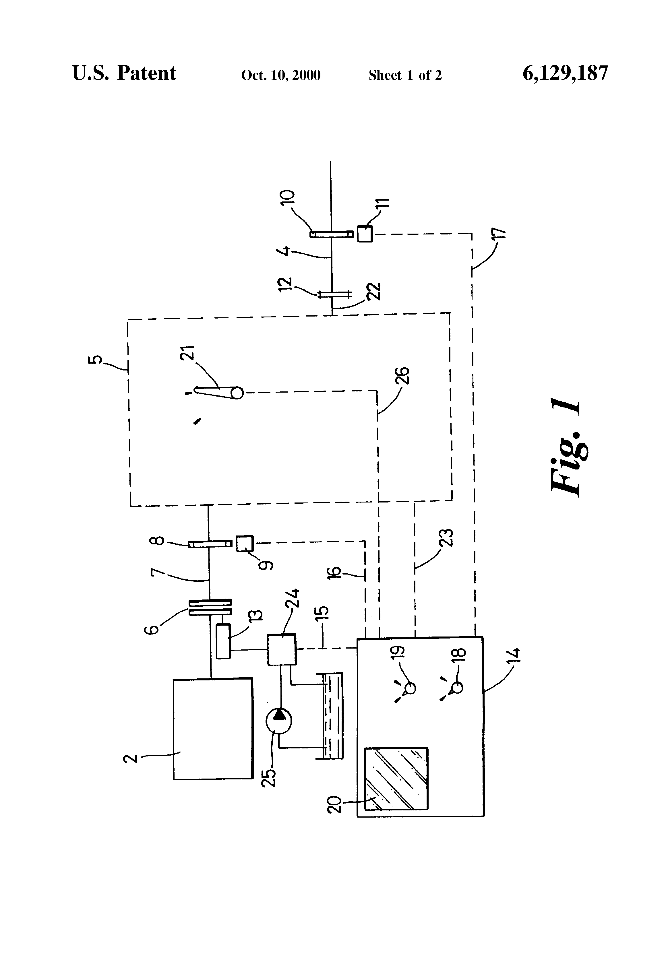 patent us6129187 pto shaft monitoring and control system patent drawing