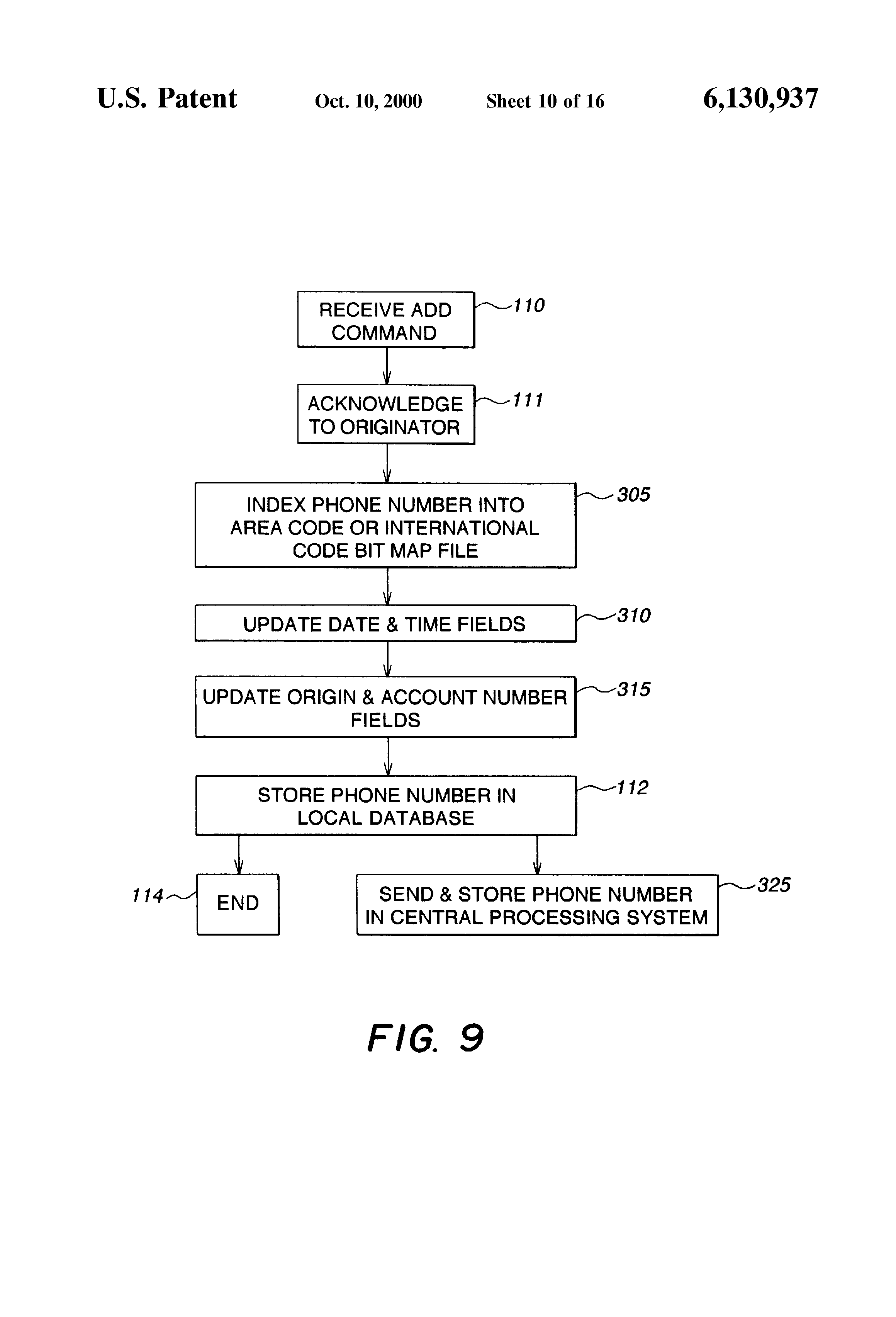Patent US6130937 System and process for automatic storage