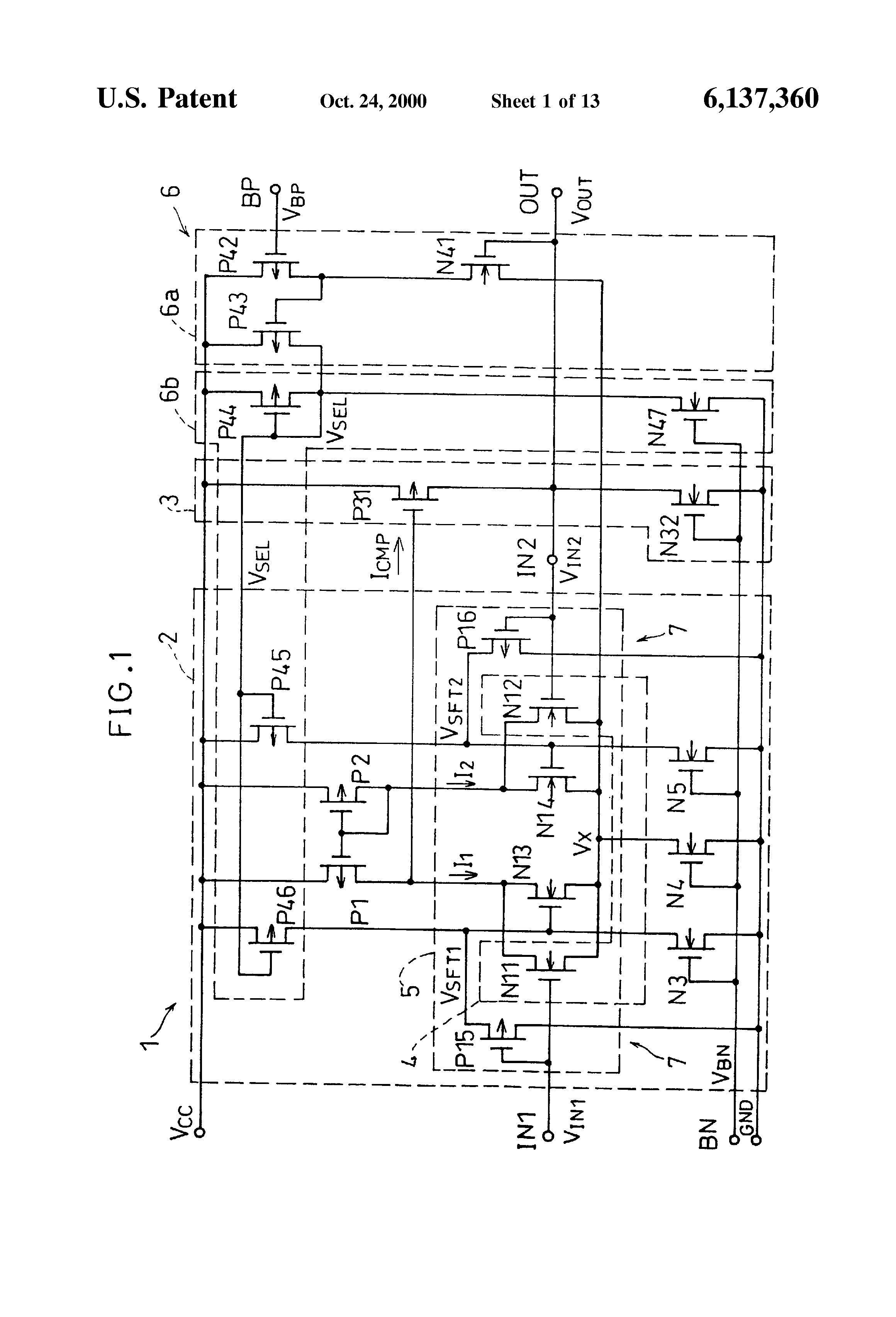 Patent Us6137360 Differential Amplifier And Voltage Follower This Pushpull Uses A Mosfet Biasing Drawing