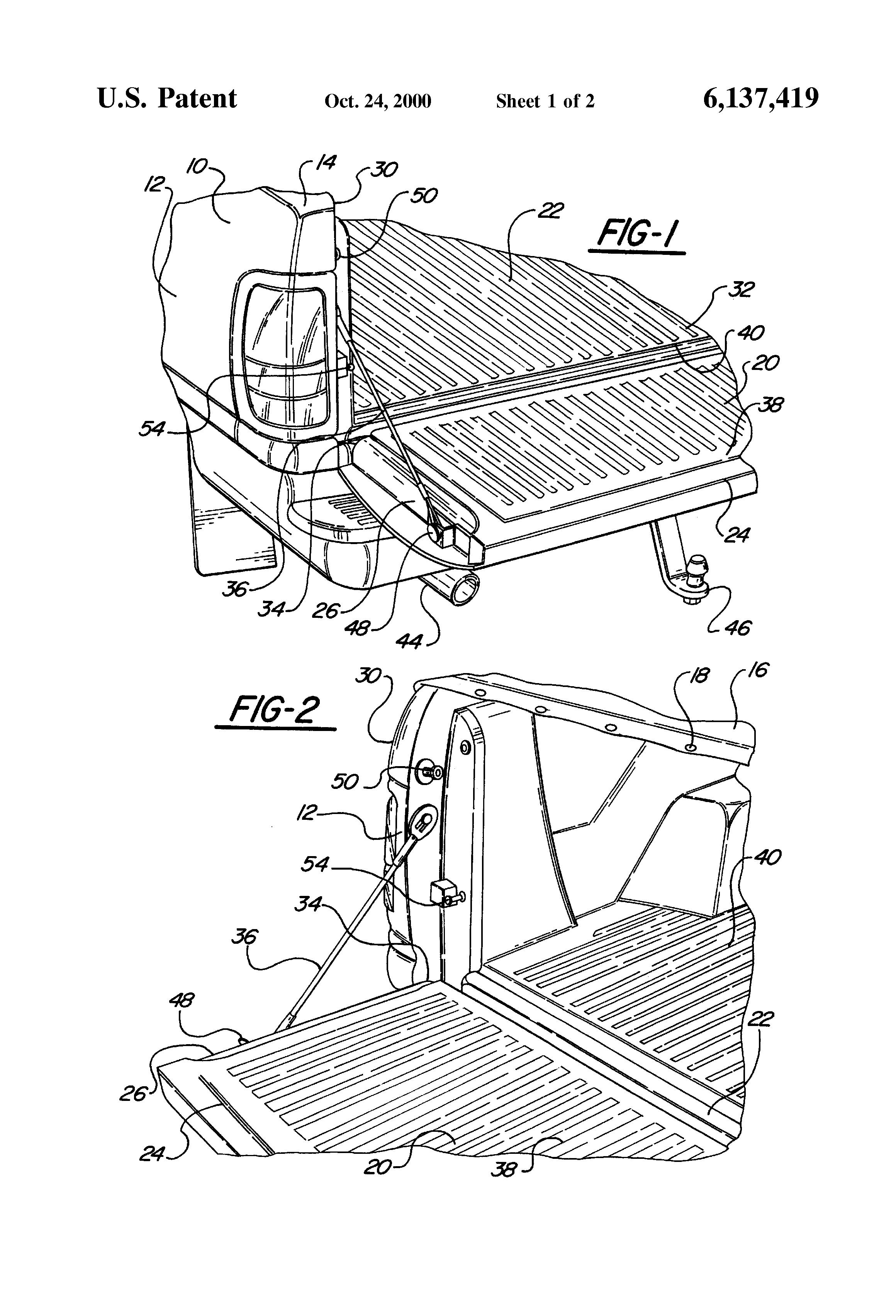 patent us6137419 - pickup truck tailgate monitor