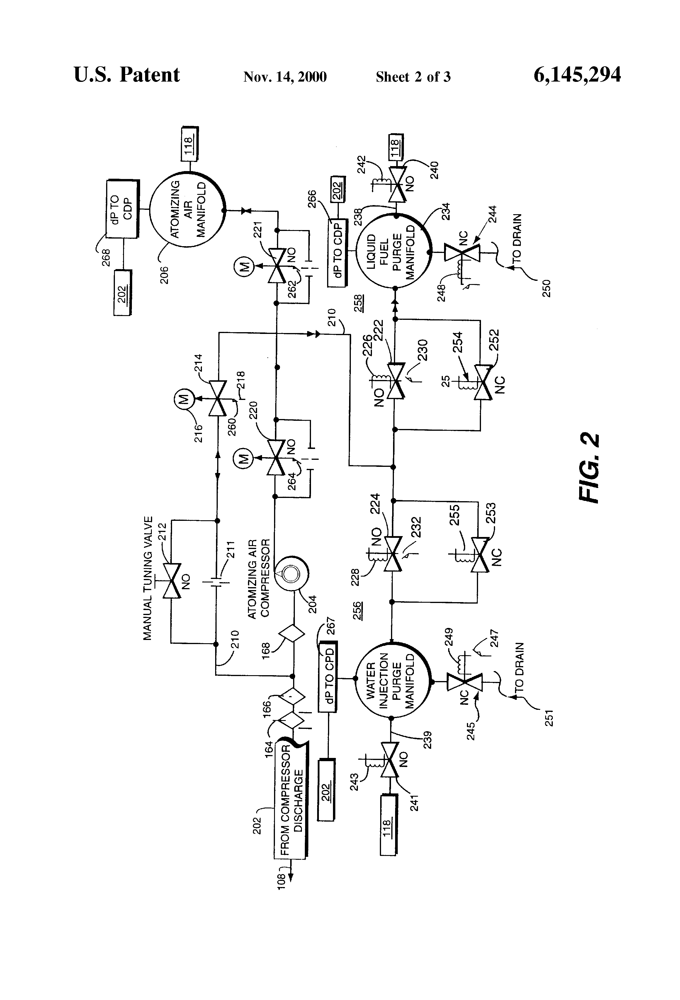 patent us6145294 - liquid fuel and water injection purge system for a gas turbine